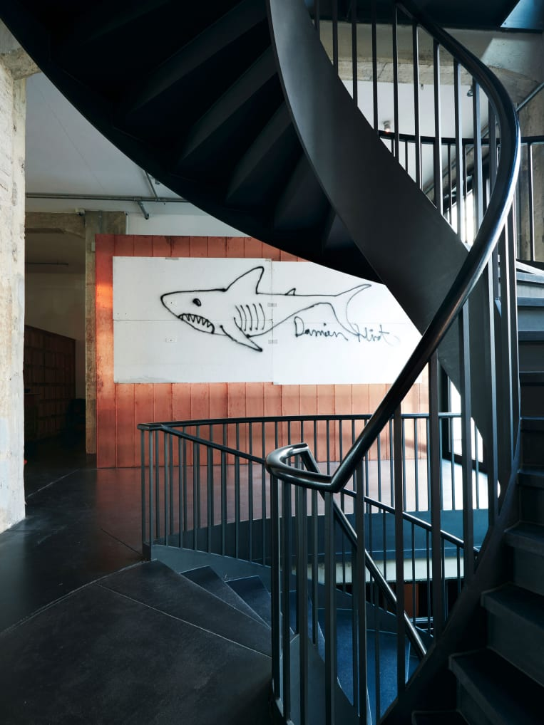 A spiral staircase with a shark graffitied onto a wall behind it.