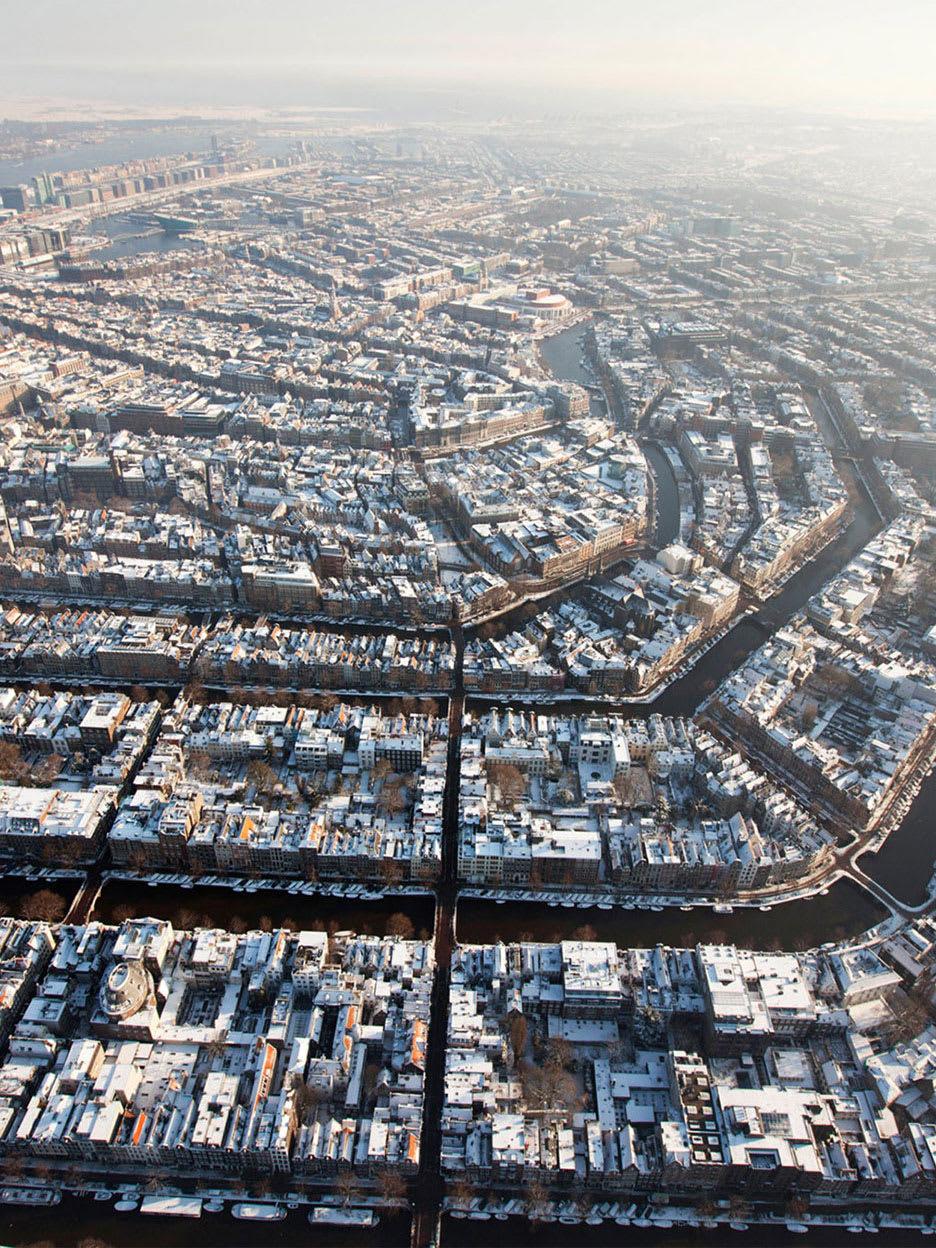 An aerial shot of a city.