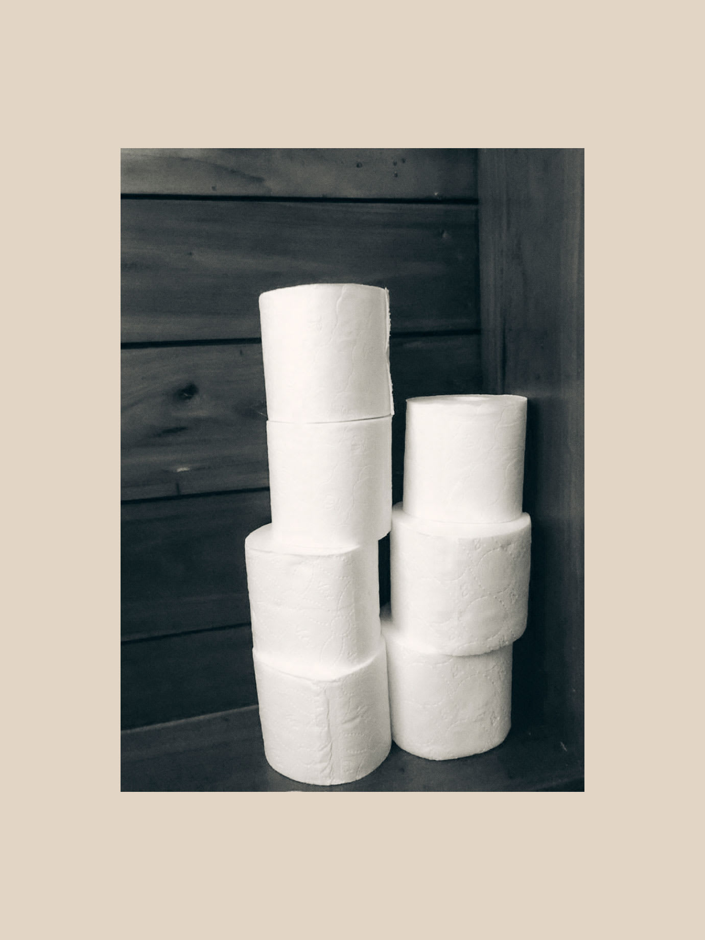 Towers of toilet paper rolls.