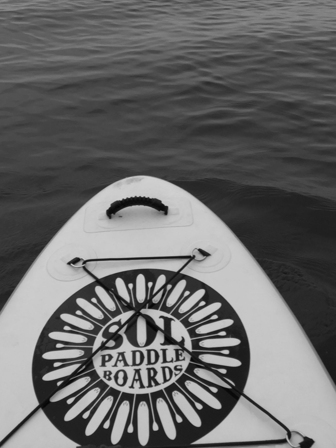 The top of a paddle board on water.