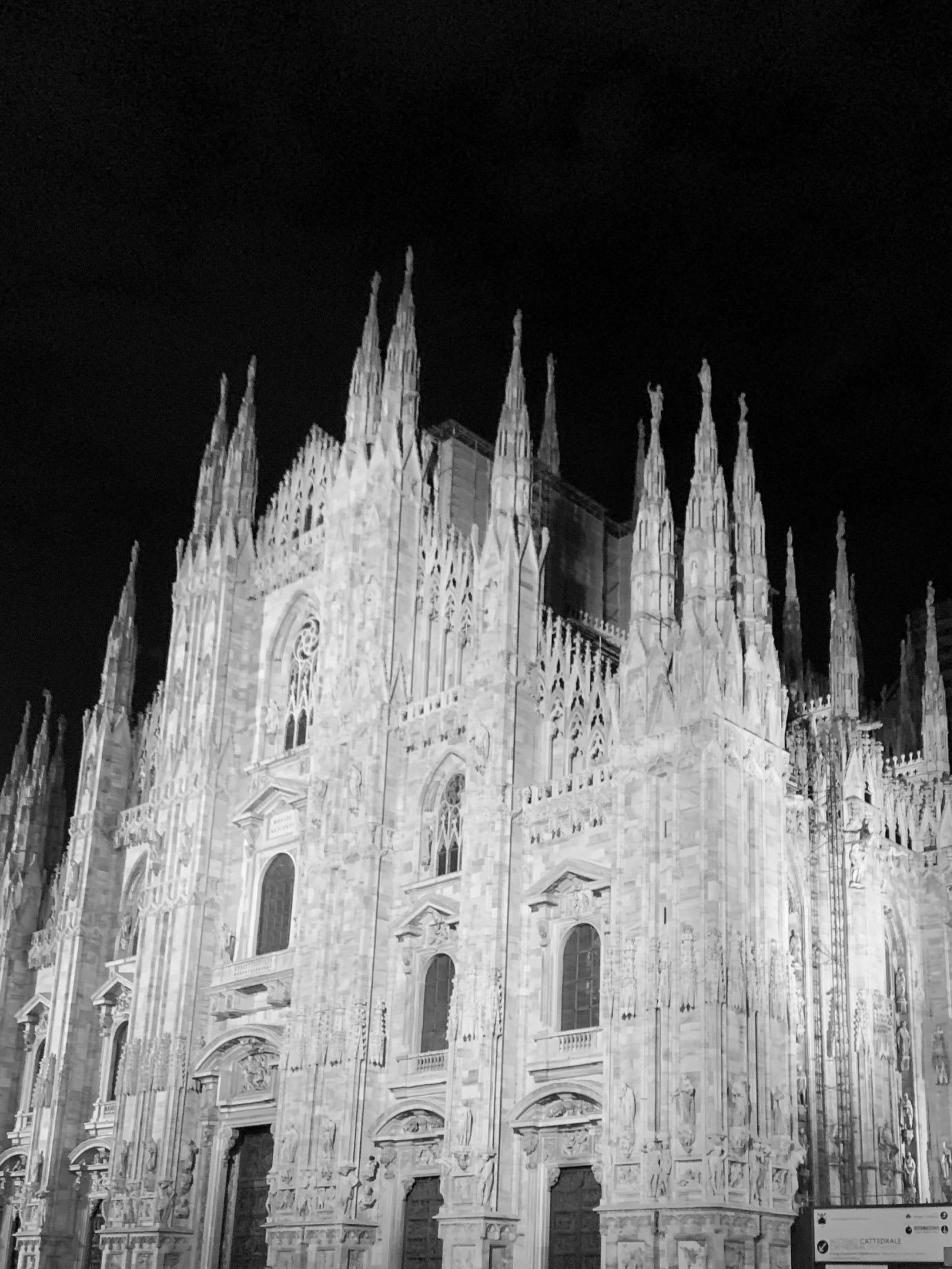 The front facade of a gothic cathedral.