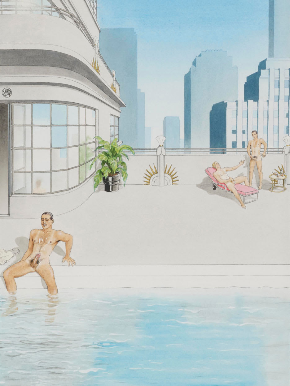 A painting of naked men sitting by a swimming pool.