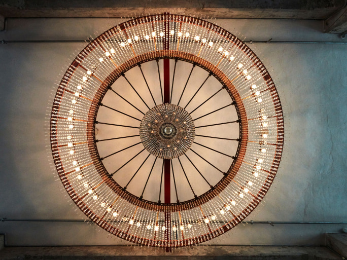 A round chandelier.