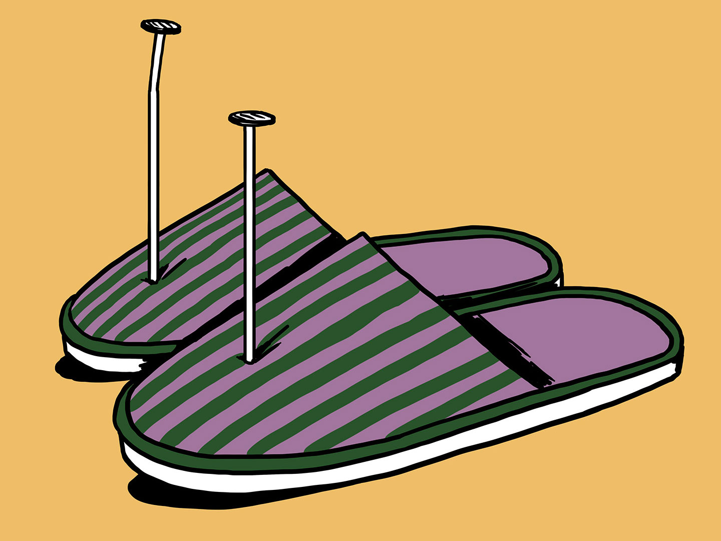 A colourful illustration of a pair of slippers with metal nails through the toes.