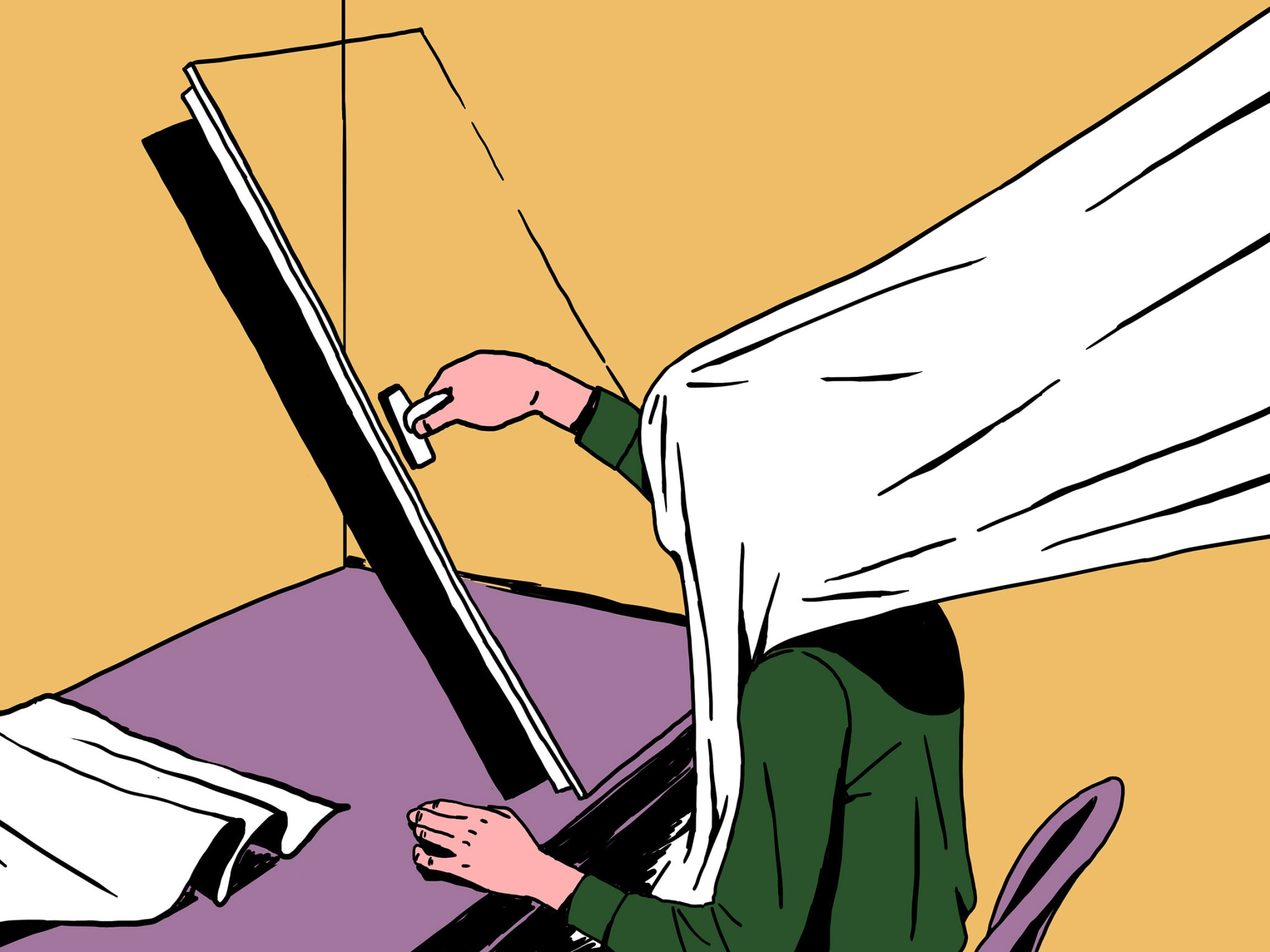 surreal illustration of a person wiping a glass screen with blanket over their head