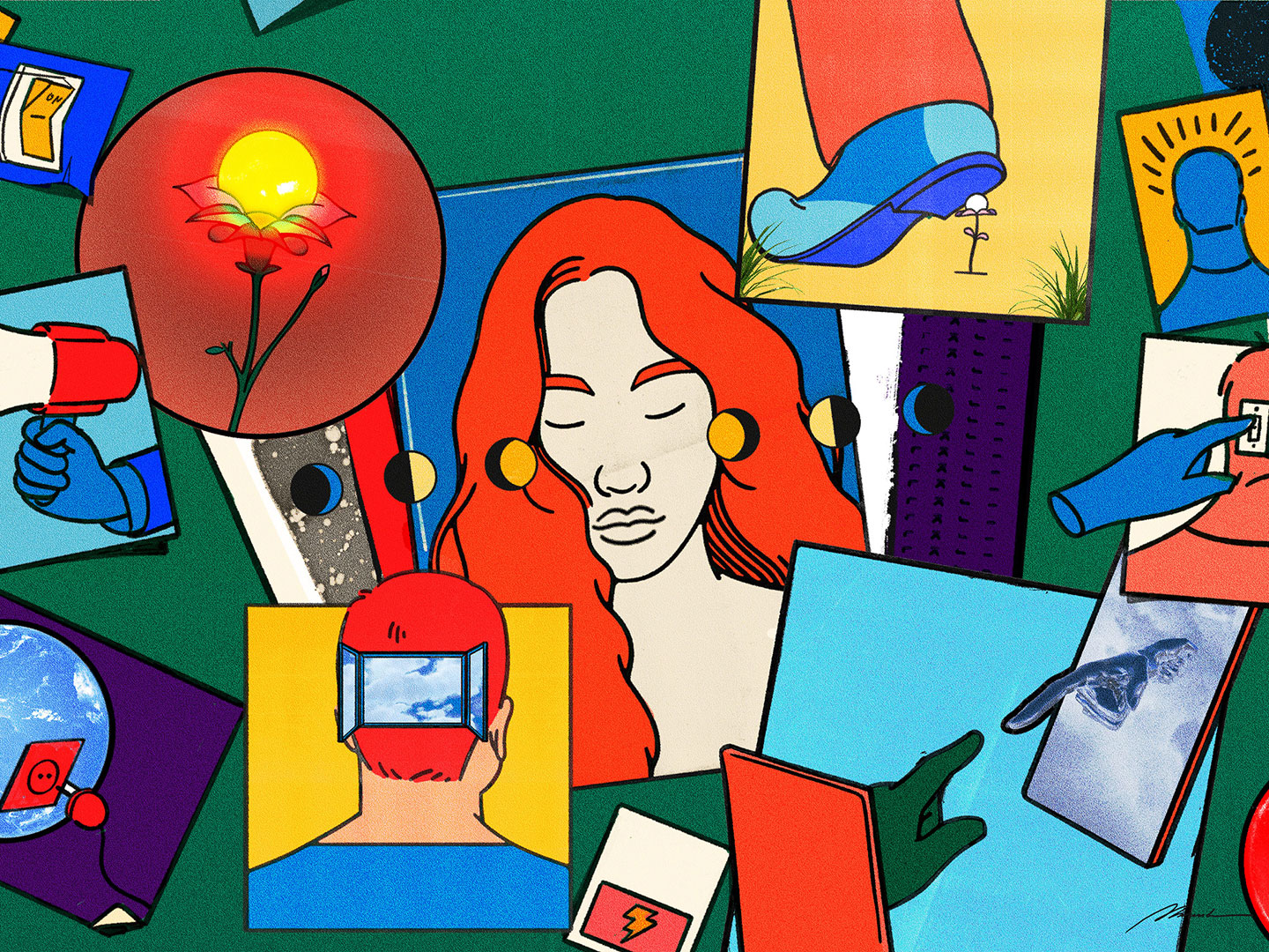 A colourful composite illustration with a woman's face at its centre.