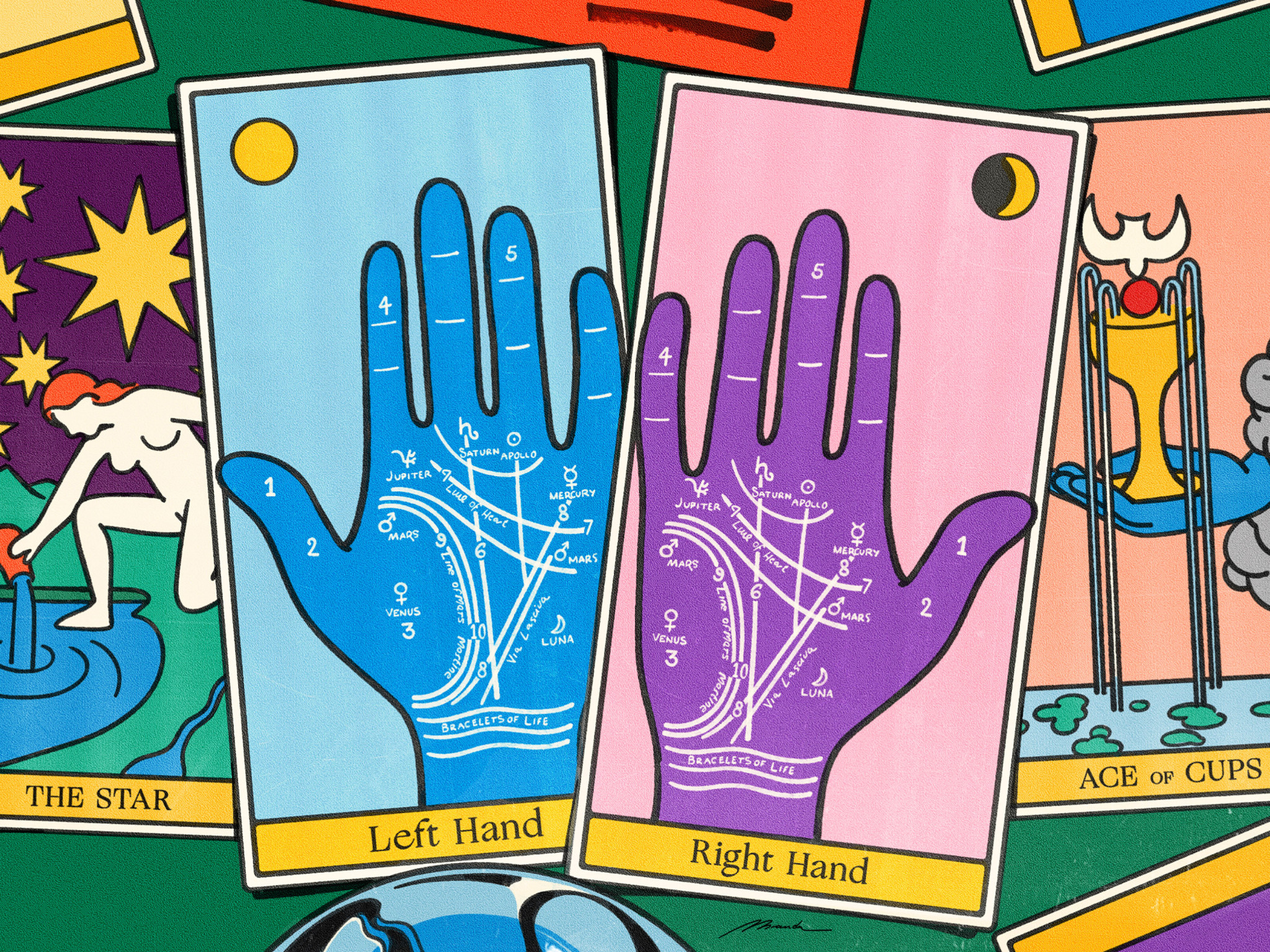 A colourful illustration of tarot cards with hands on them.