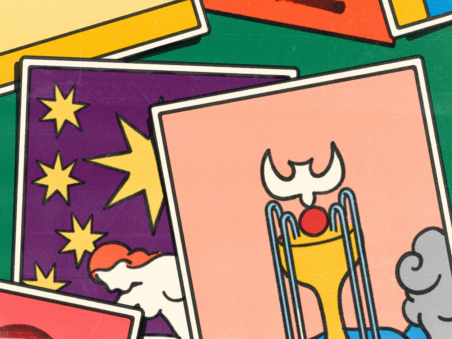 A colourful illustration of tarot cards.