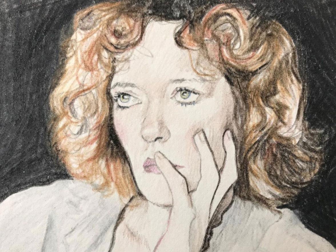 A coloured pencil portrait of a woman.