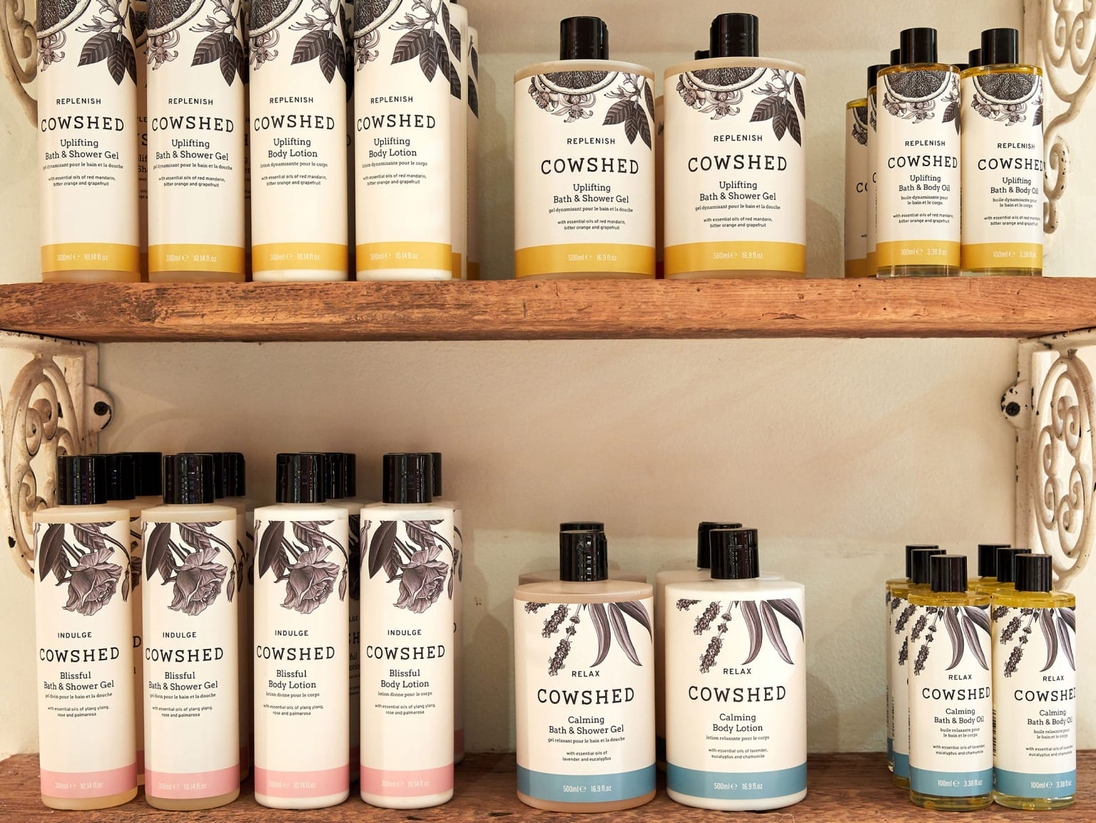 Beauty products on shelves.
