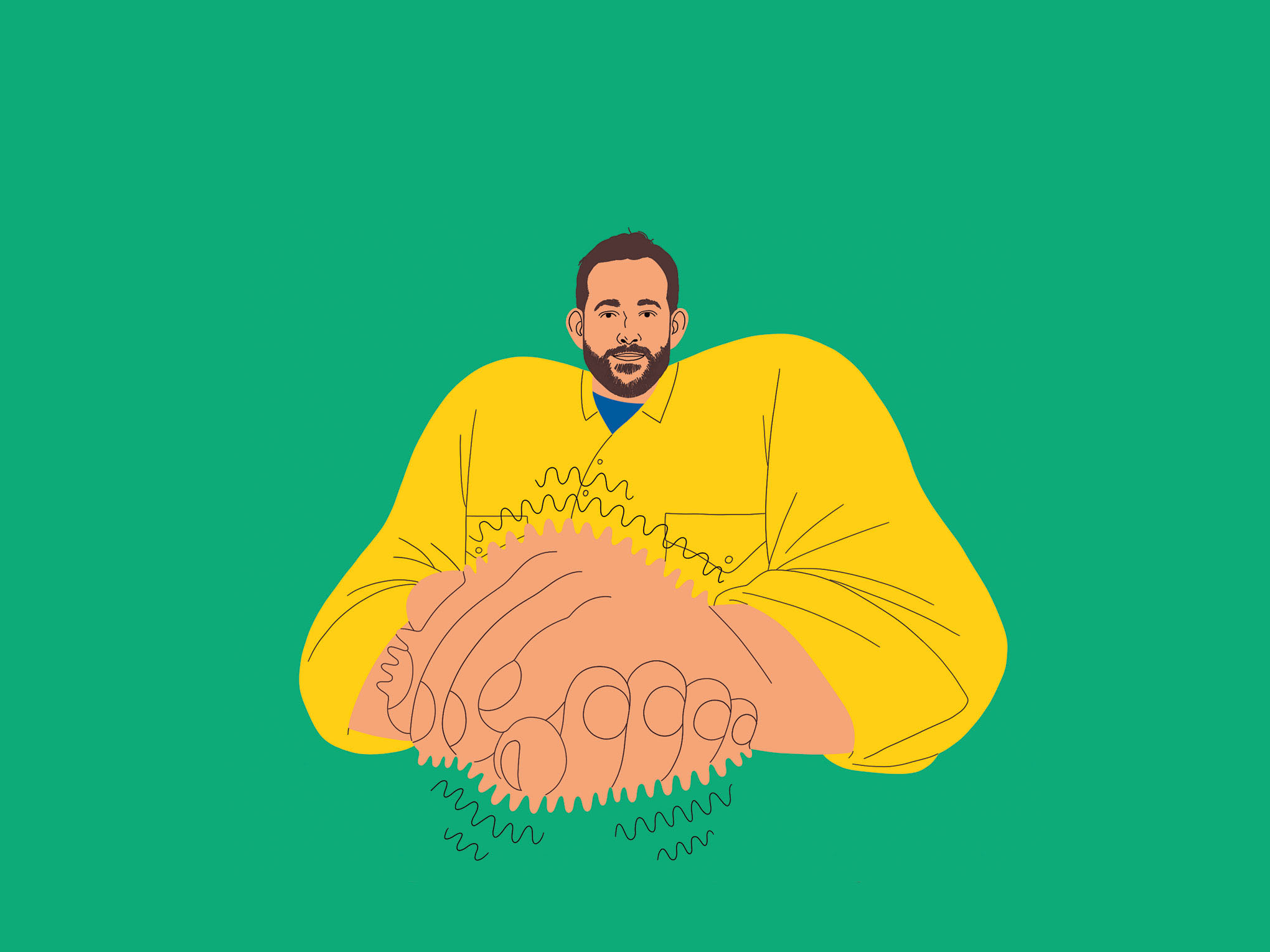 Illustration of bearded man with hands clasped and vibrating