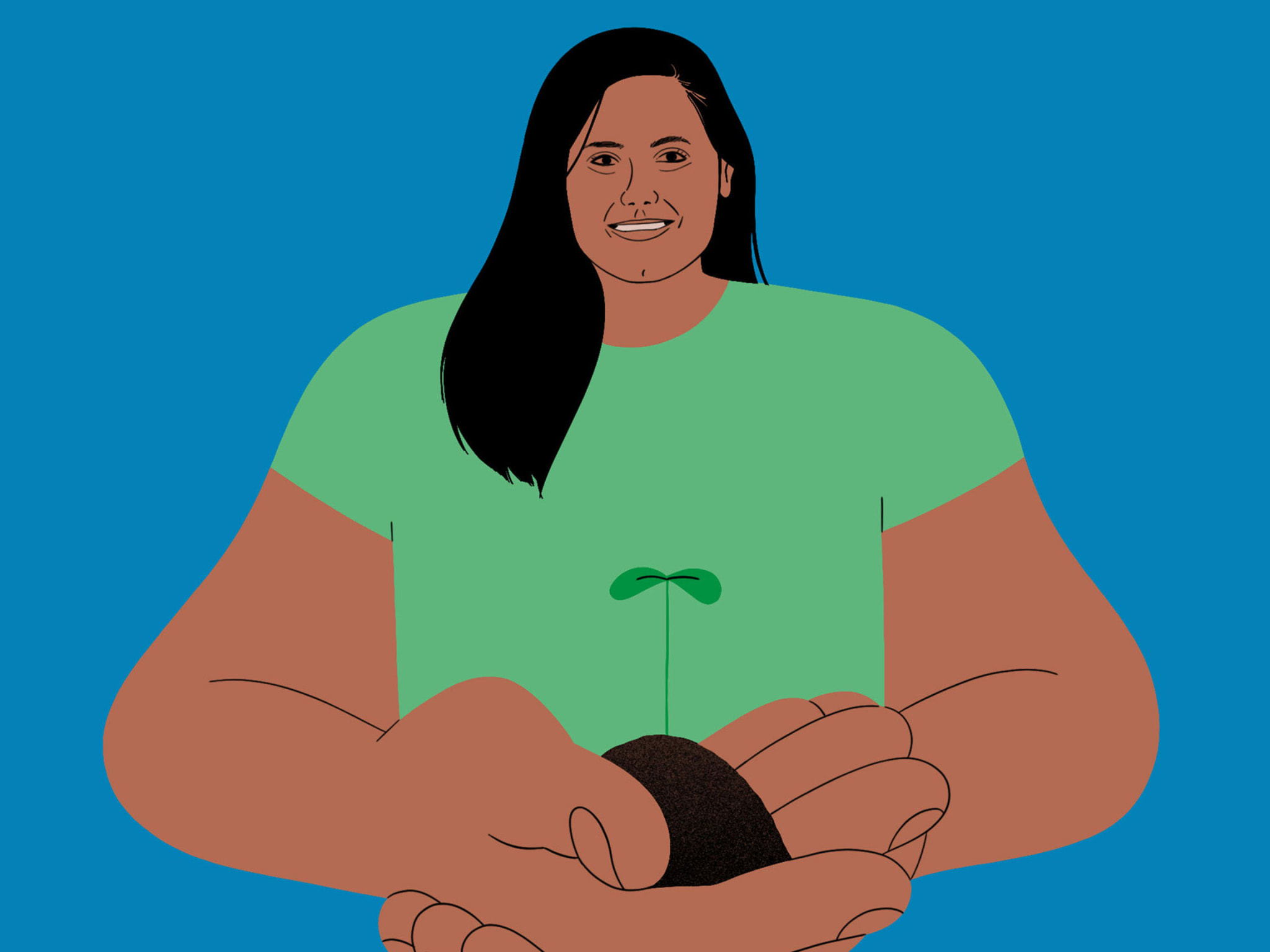 illustration of woman holding soil and a growing plant in her hands
