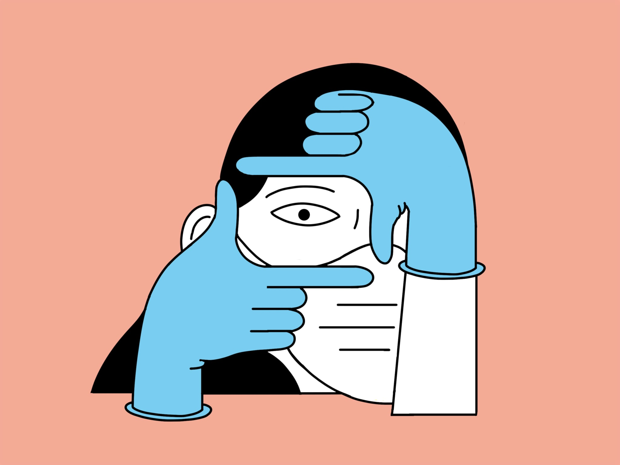 A colourful abstract illustration of a person holding their fingers in a way that frames their eye.