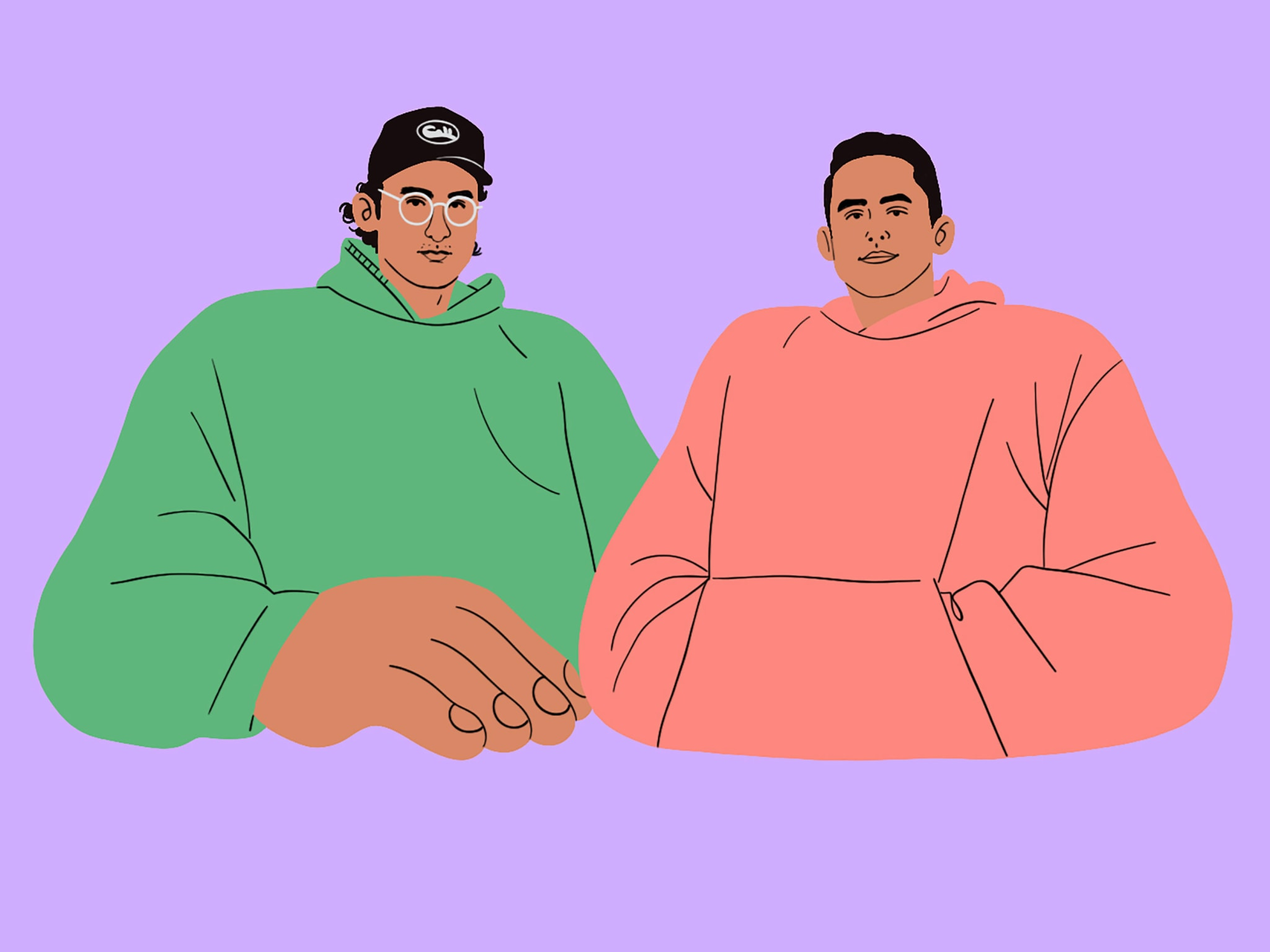 A colourful illustration of two men wearing hoodies.