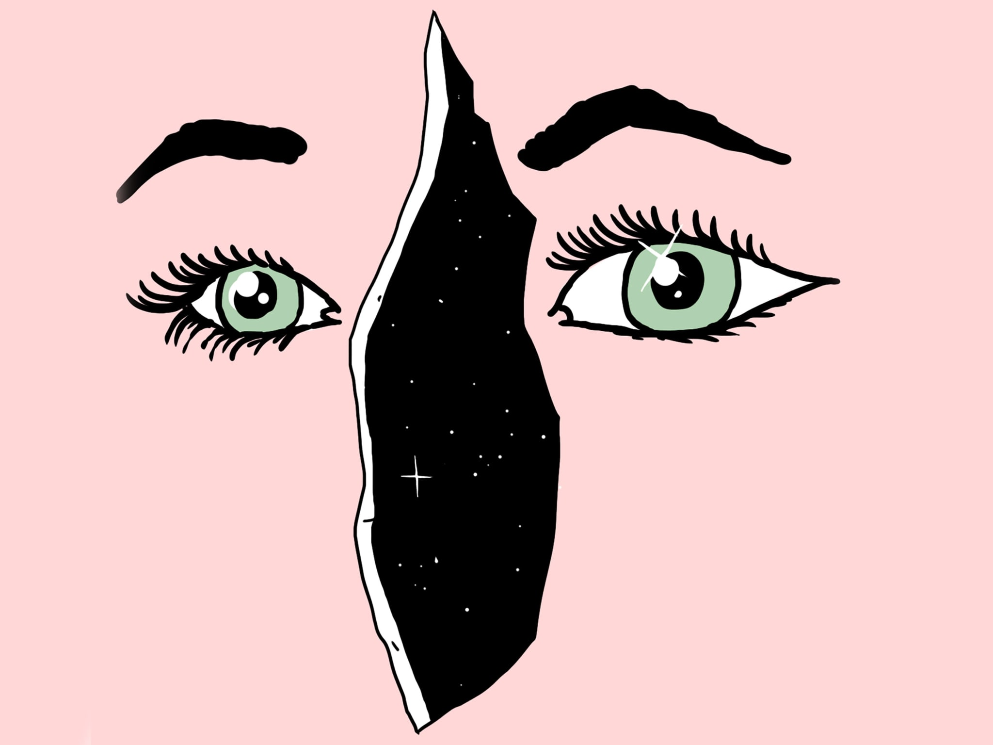 An illustration of a pink face with two eyes and a crack for a nose.