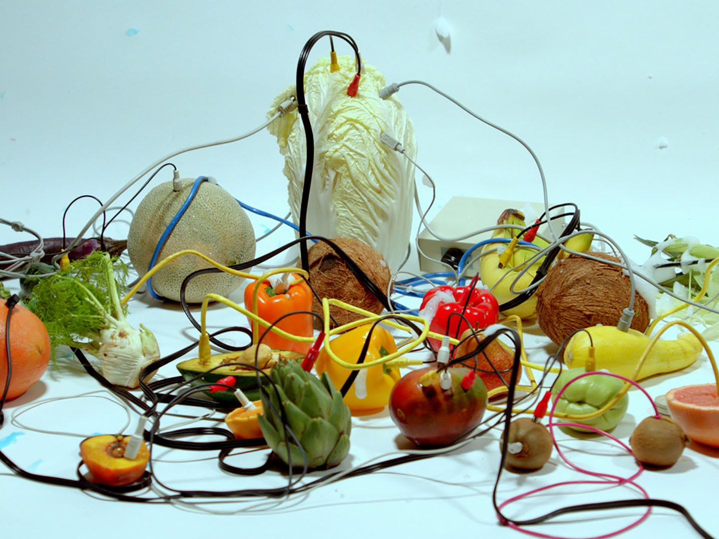 Various fruit items connected by wires.