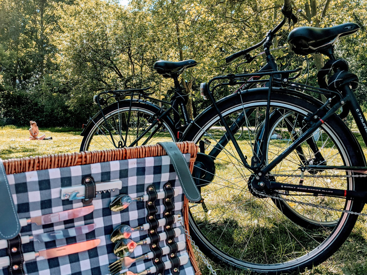 Bicycles next to a picnic hamper.