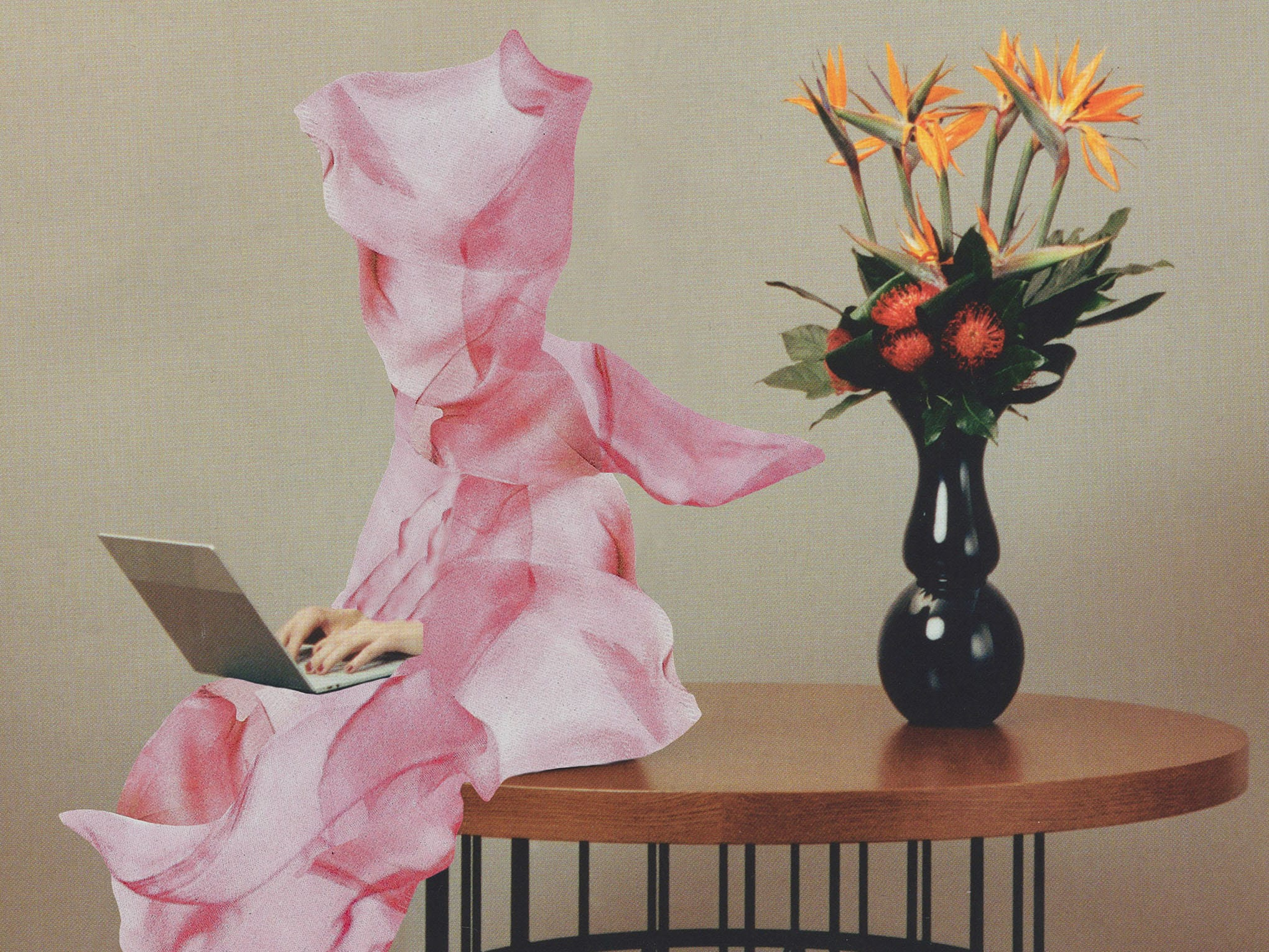 illustration of woman wrapped in pink sheet on table on laptop
