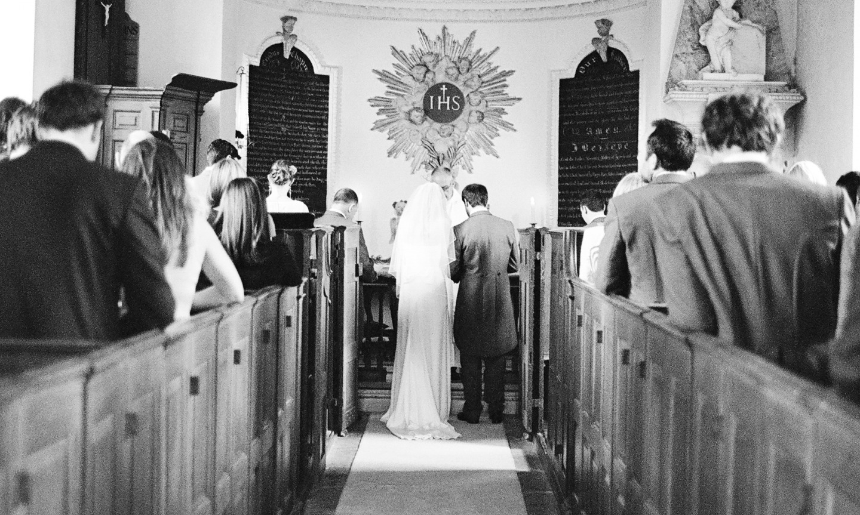 A wedding in a chapel.