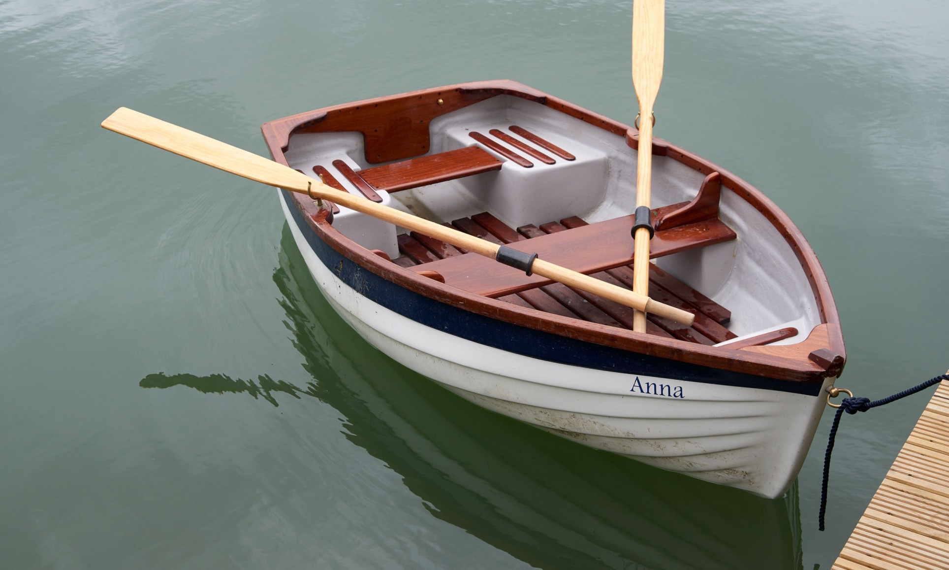 A rowing boat on a lake.