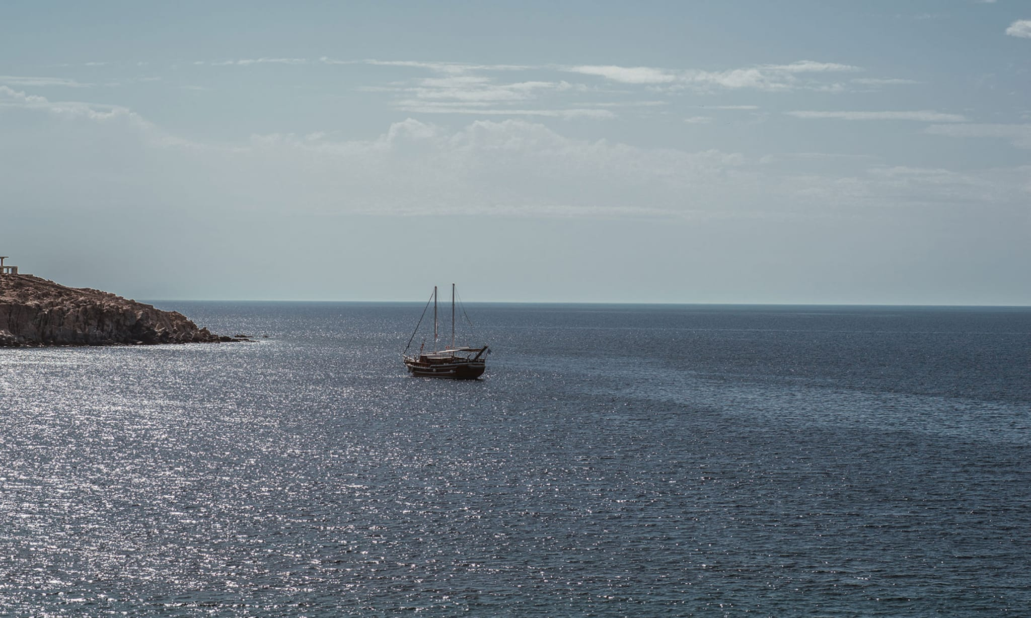 A boat on the sea.