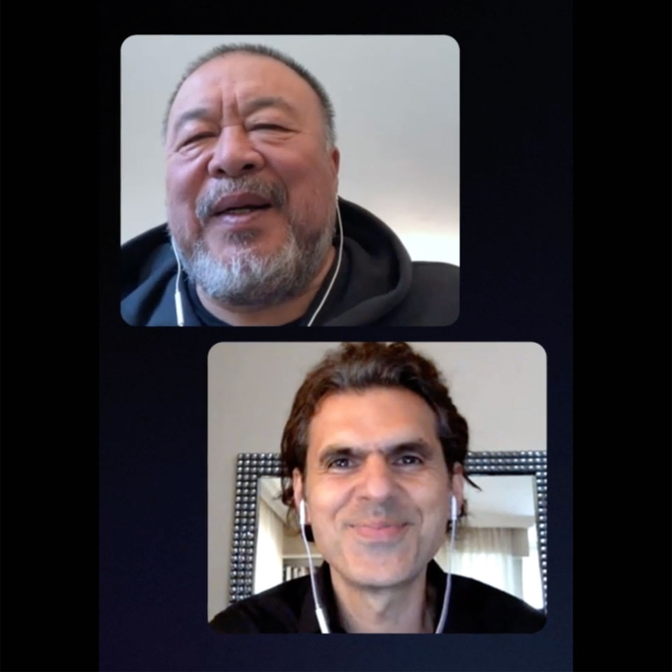 Two men having a video call conversation.