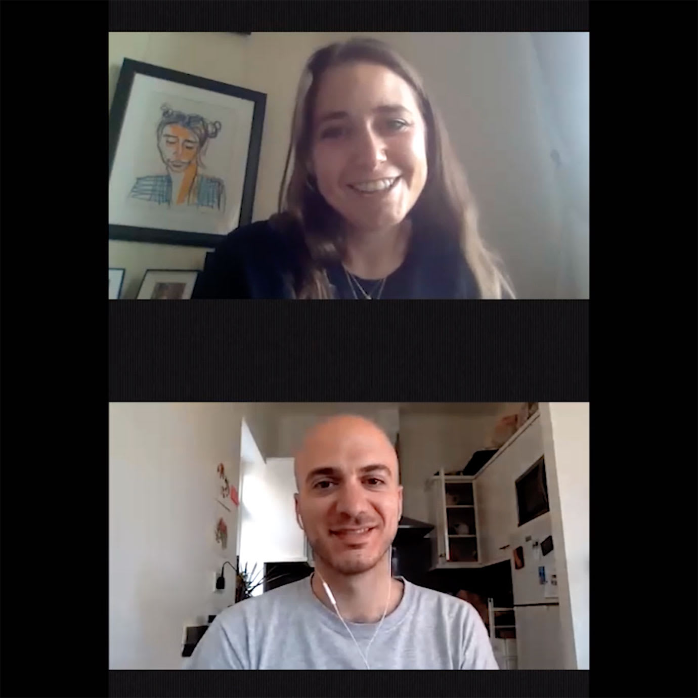 A woman and a man on a video call.