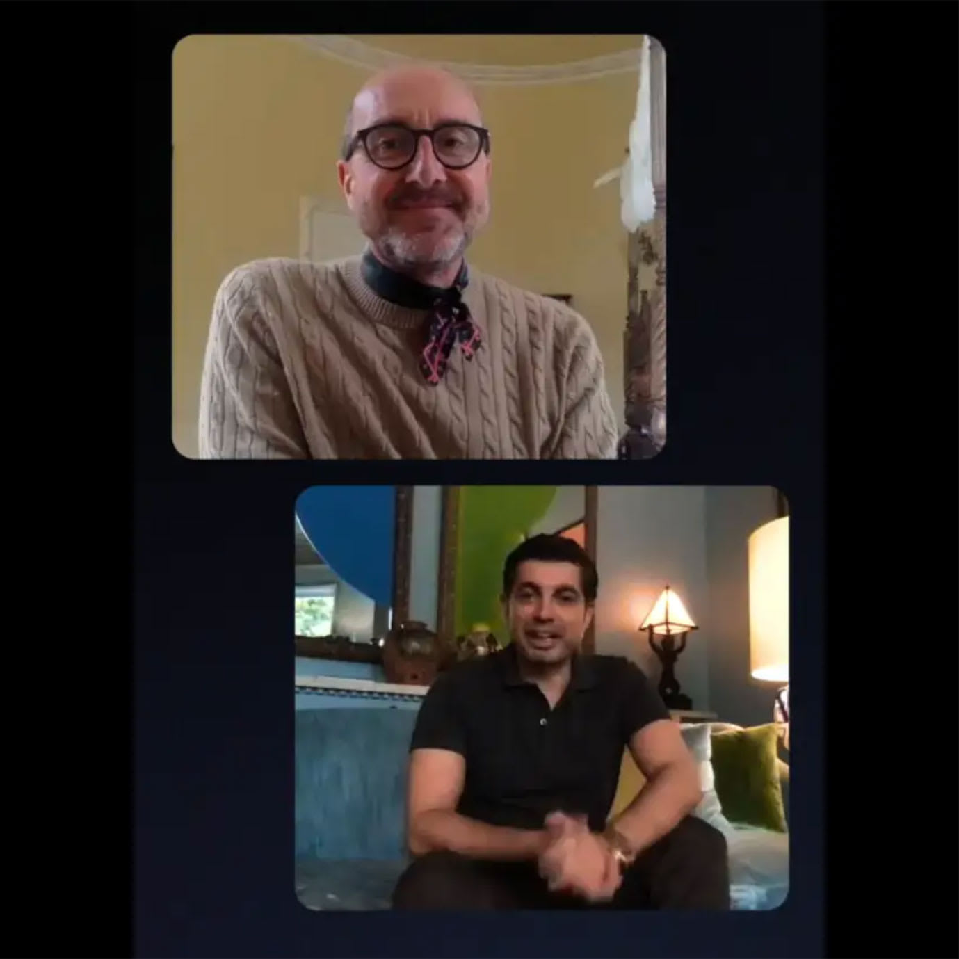 Two men on a video call.