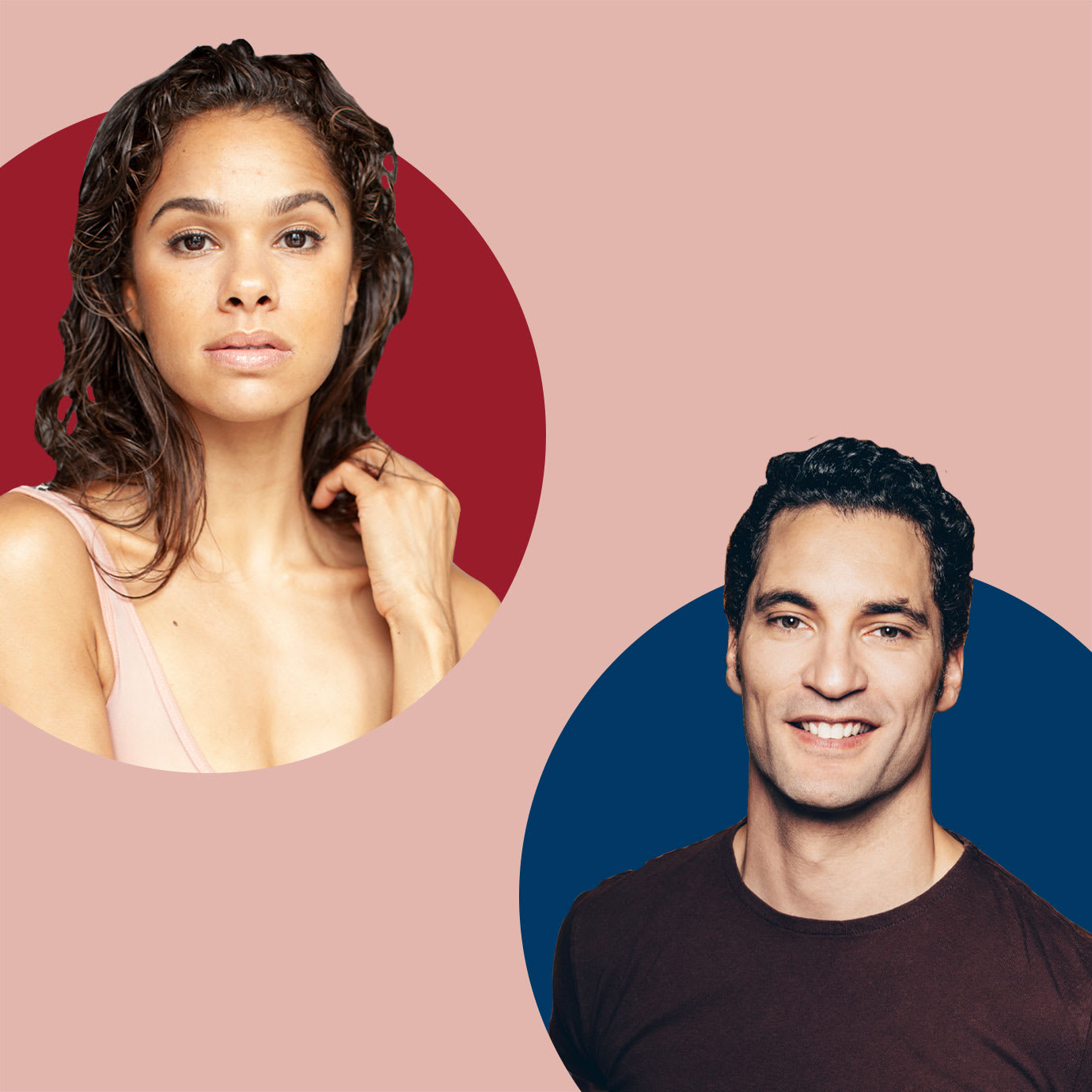 A woman and a man cutout onto pink red and blue backgrounds.
