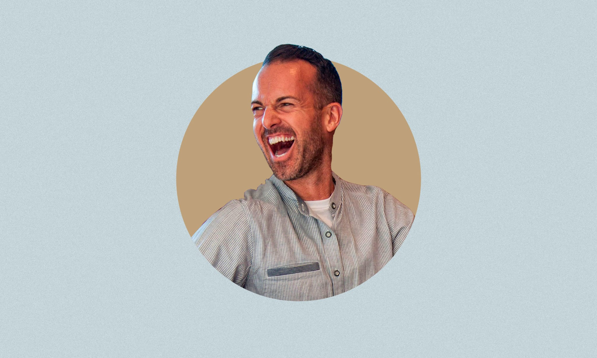A cutout of a laughing man on a blue background.