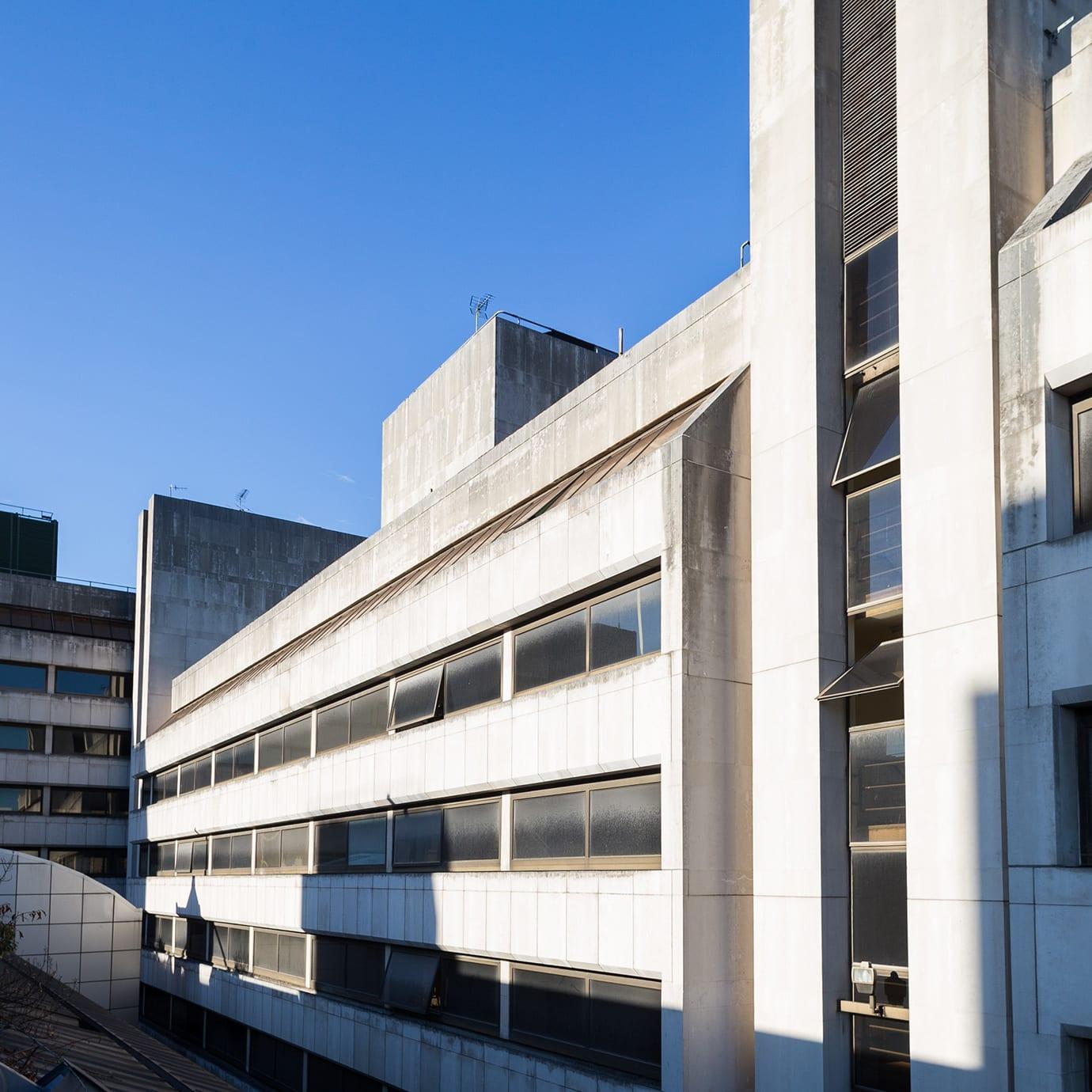 Detail of a brutalist concrete building.