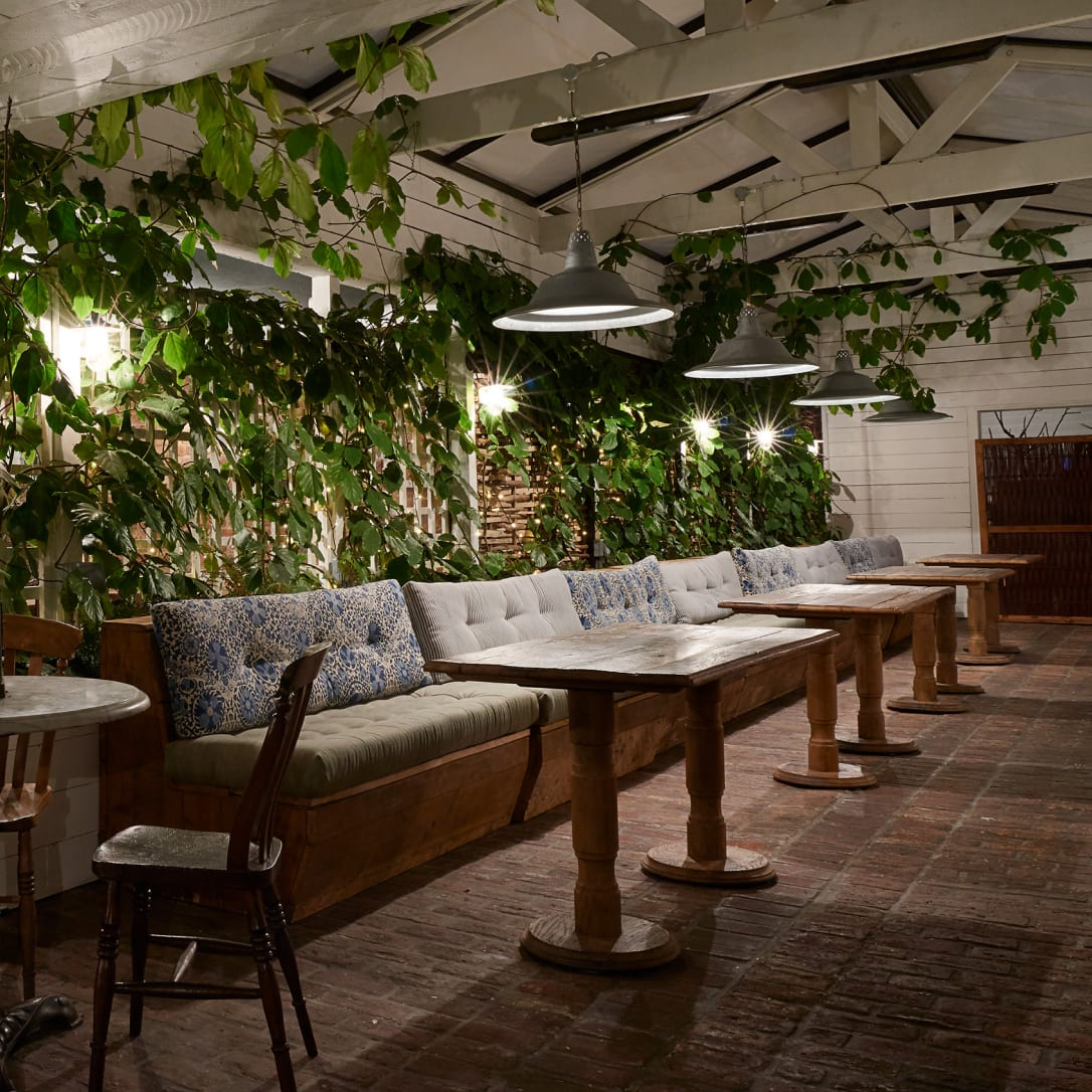 A restaurant with plants behind the tables.