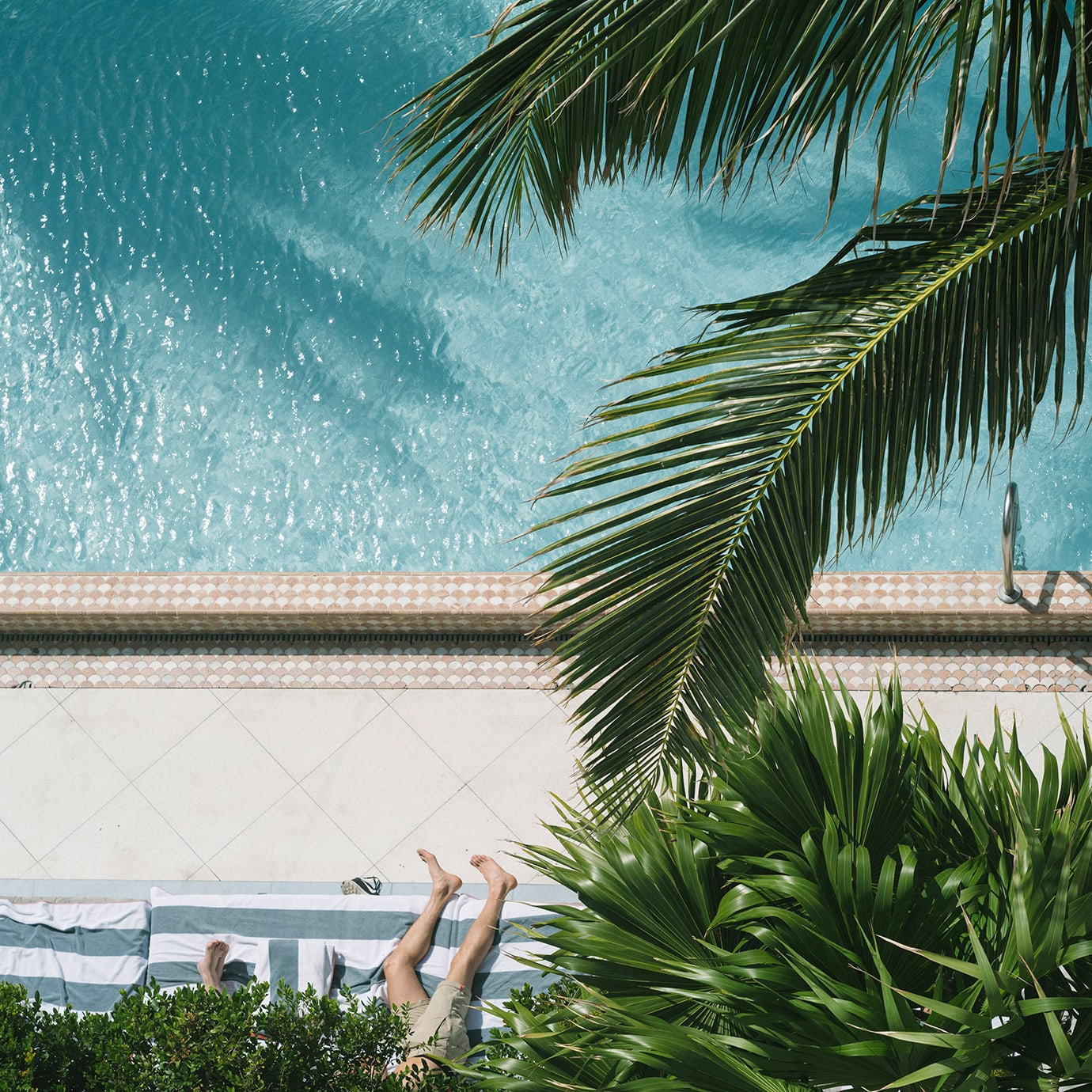 Looking down onto a pool through some trees and a lounger with a person on it.