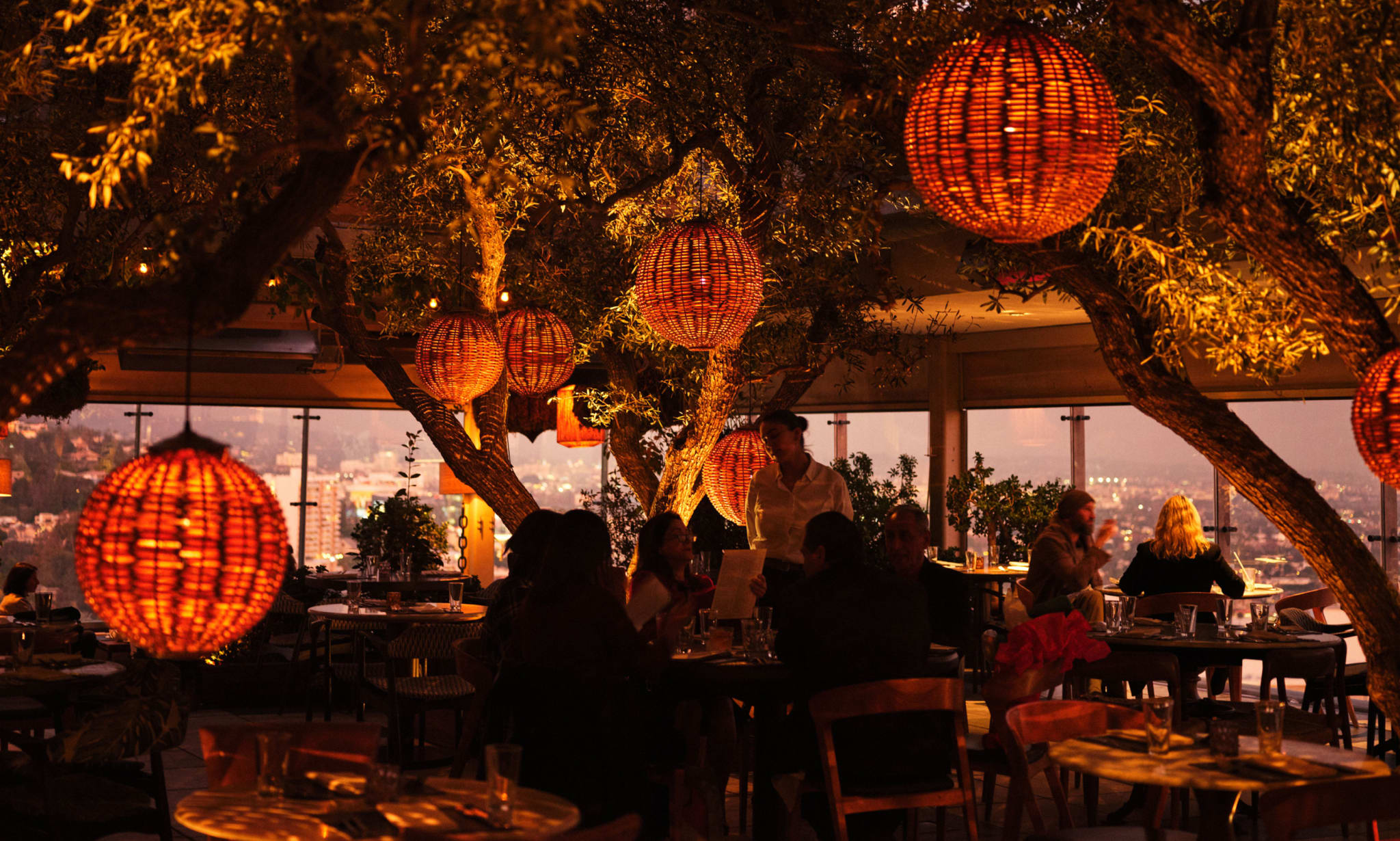 A restaurant with wicker lighting and many trees amongst the tables and chairs.
