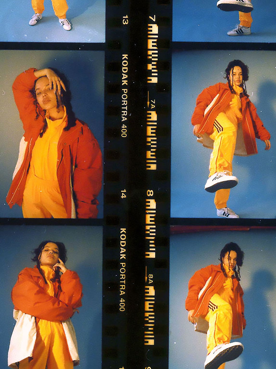 Singer JGrrey posing in different moves in tracksuit and hoodie in film roll of images