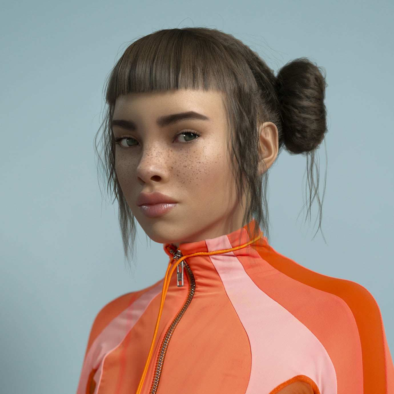 A girl wearing an orange outfit.