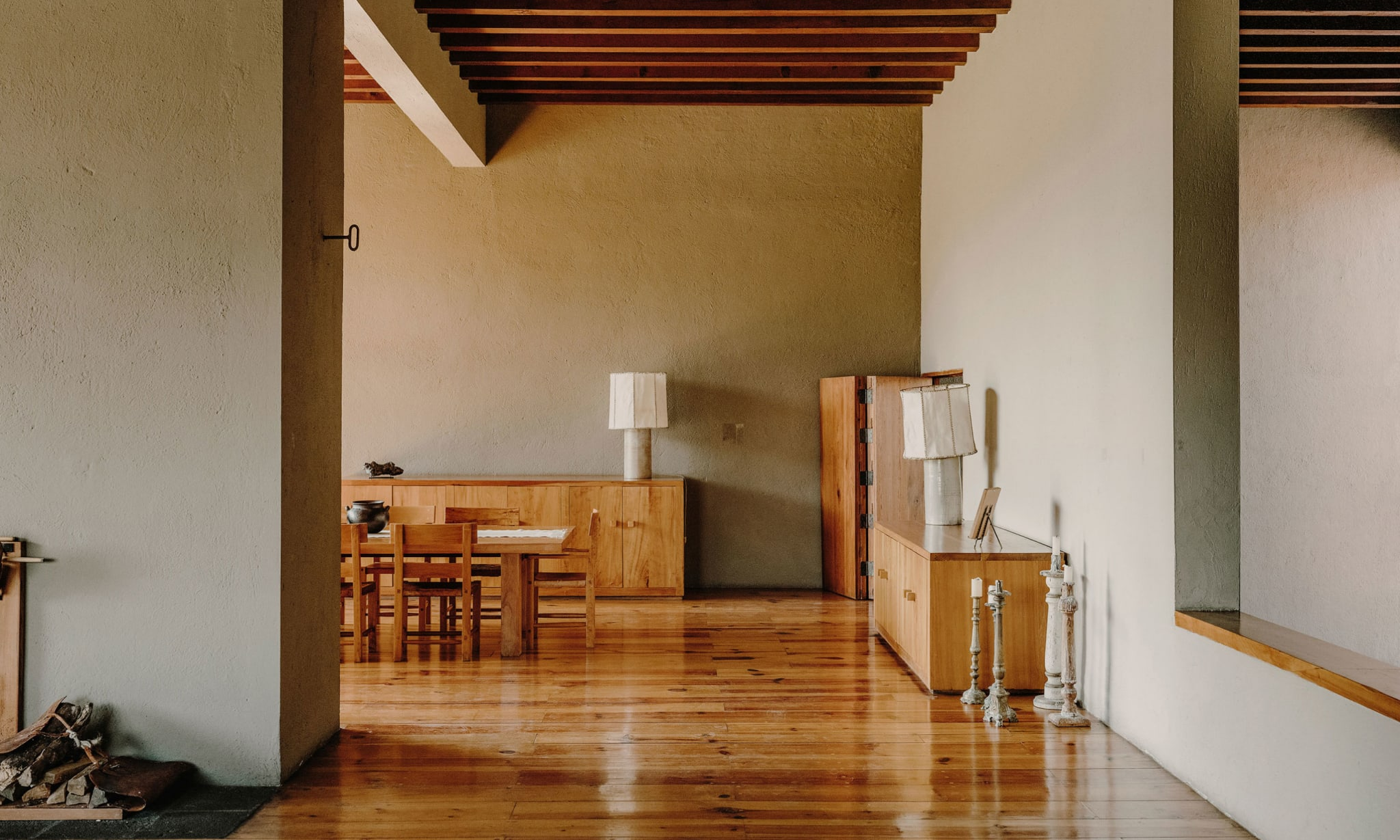 A sparse wooden home interior.