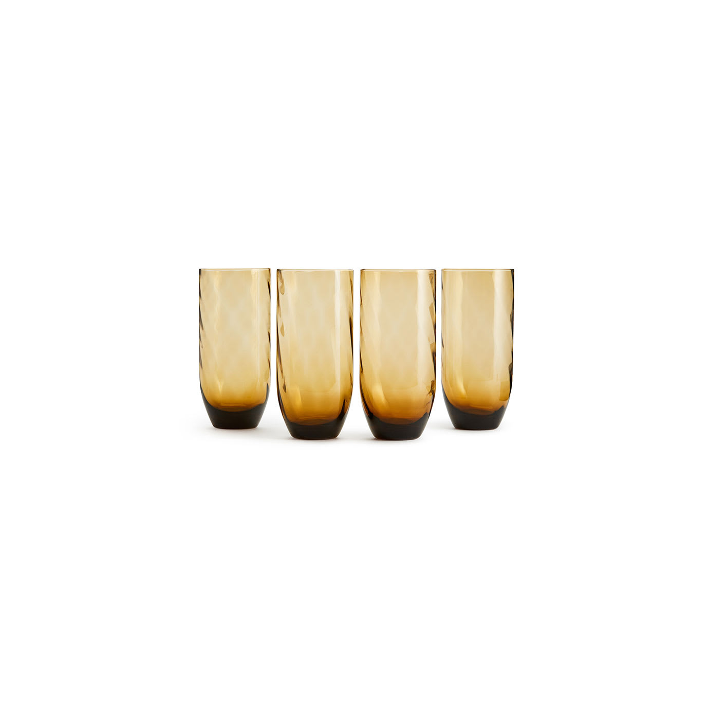 Four amber coloured glasses.