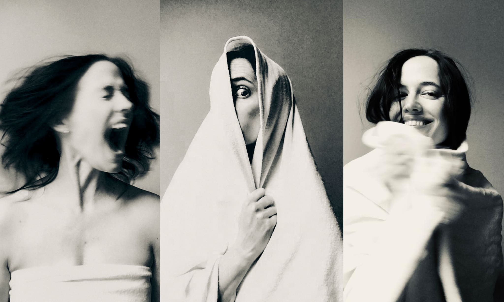 A collage of the same woman screaming, hiding and smiling behind a white blanket.