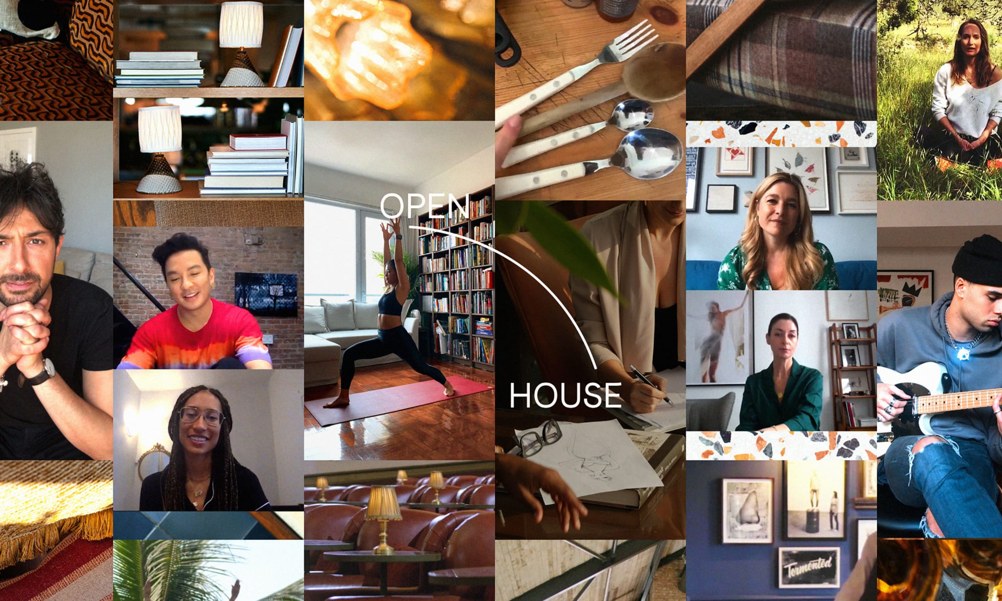A collage of people and various wellbeing activities with Open House written over it in white type.