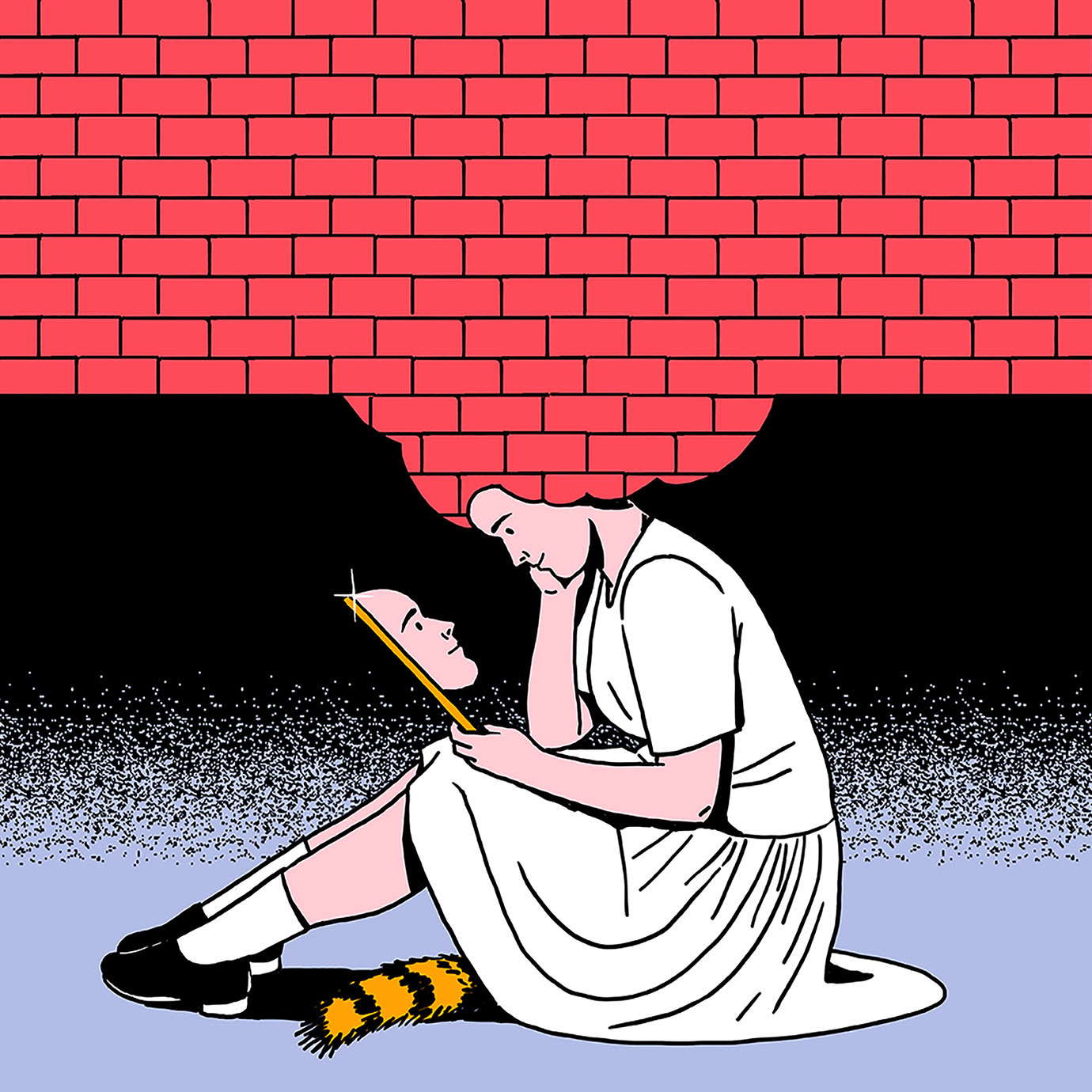 An illustration of a woman sitting under red brick wall looking at her face in a mirror.