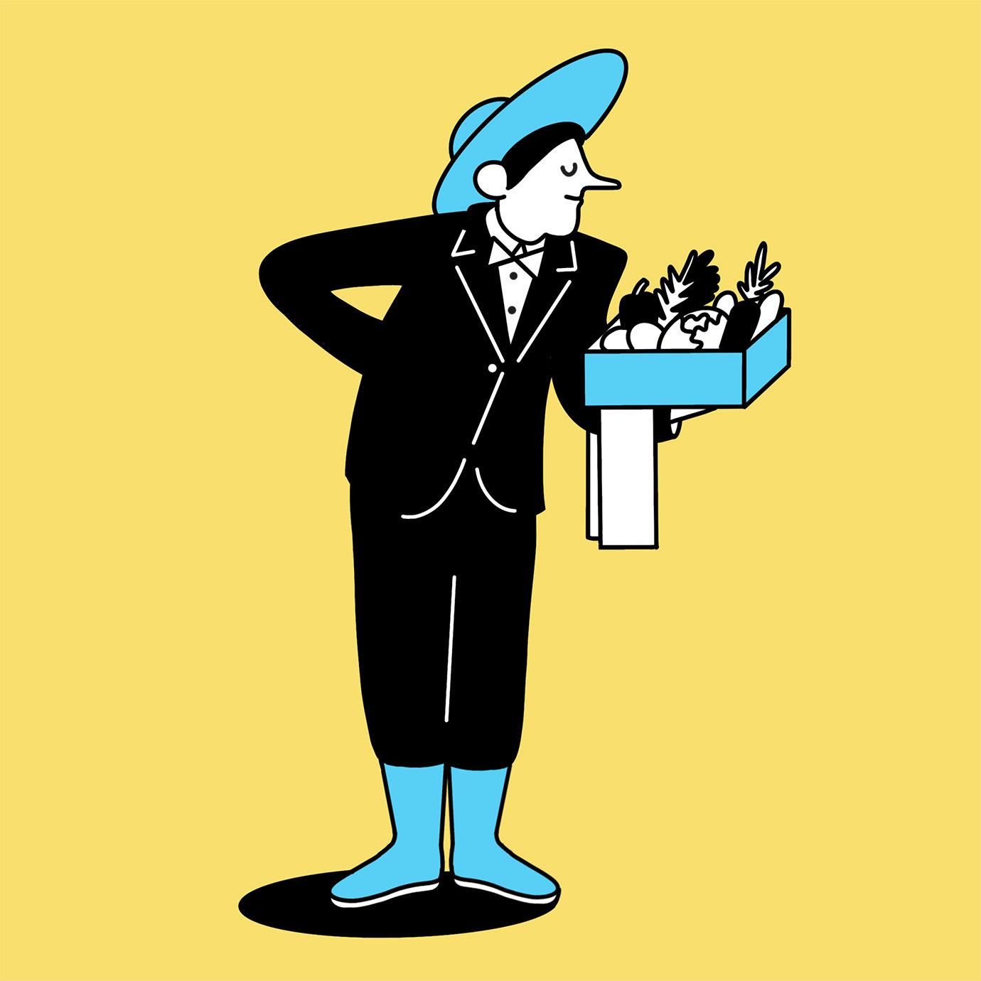 An illustration of a person serving a box full of vegetables.