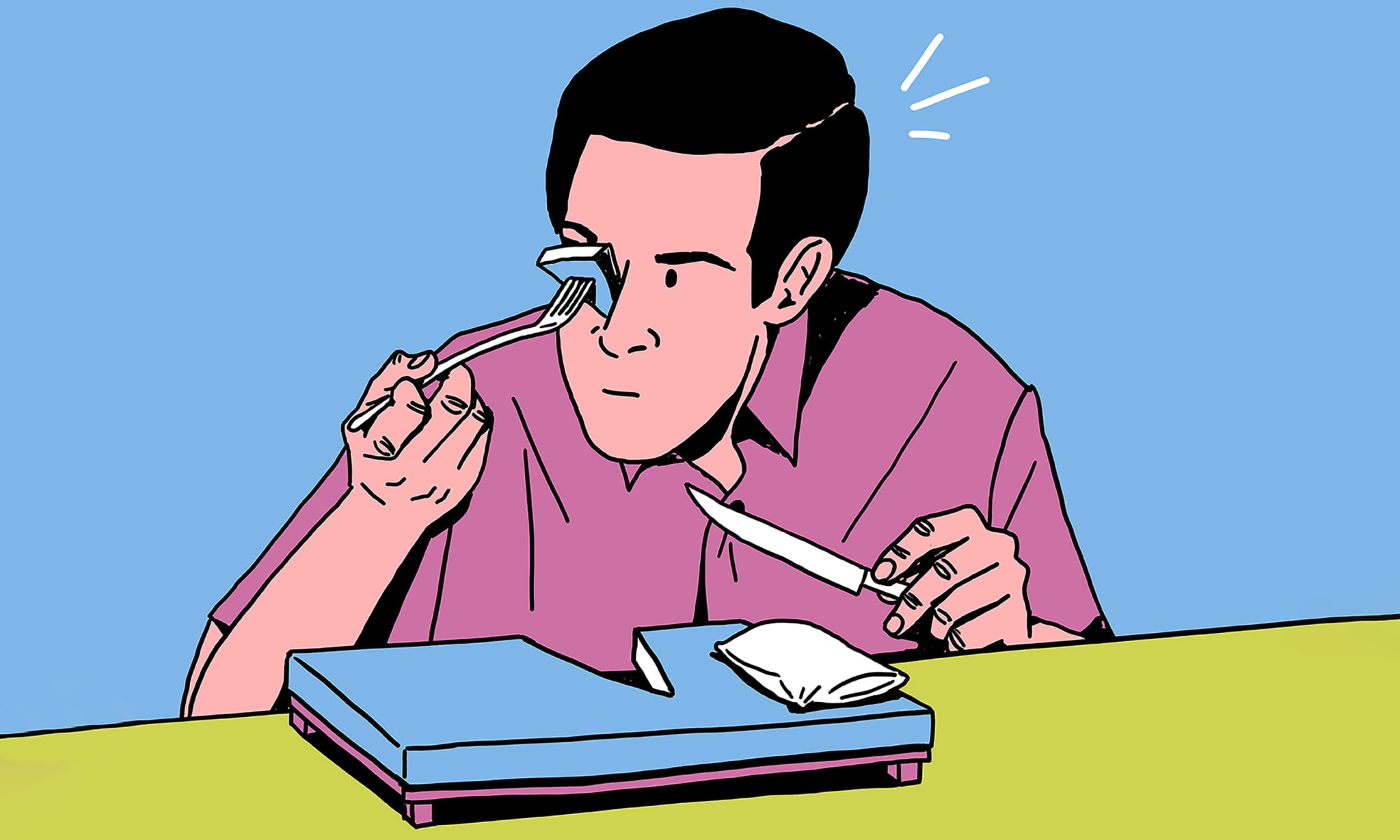 An illustration of a man eating a bed with a knife and fork but putting a slice in his eye.