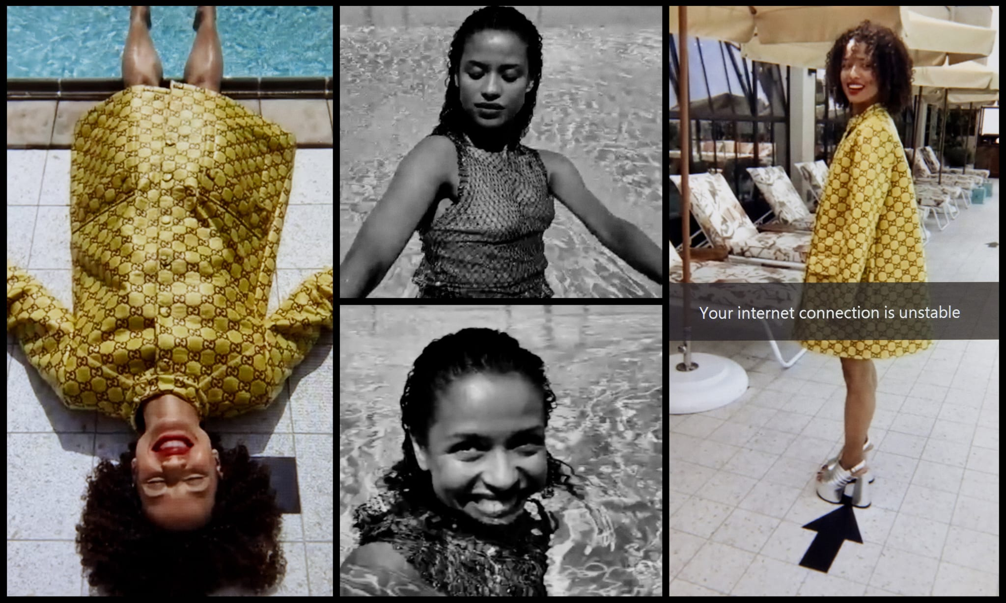 A collage of a woman wearing different outfits in and around a swimming pool.