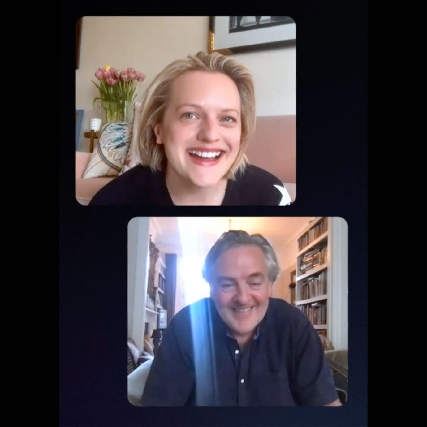 A woman and a man chatting on a video call.