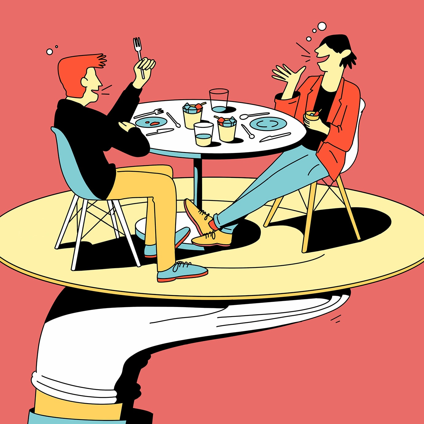 An illustration of two people eating at a table while themselves being served on a plate by a hand.