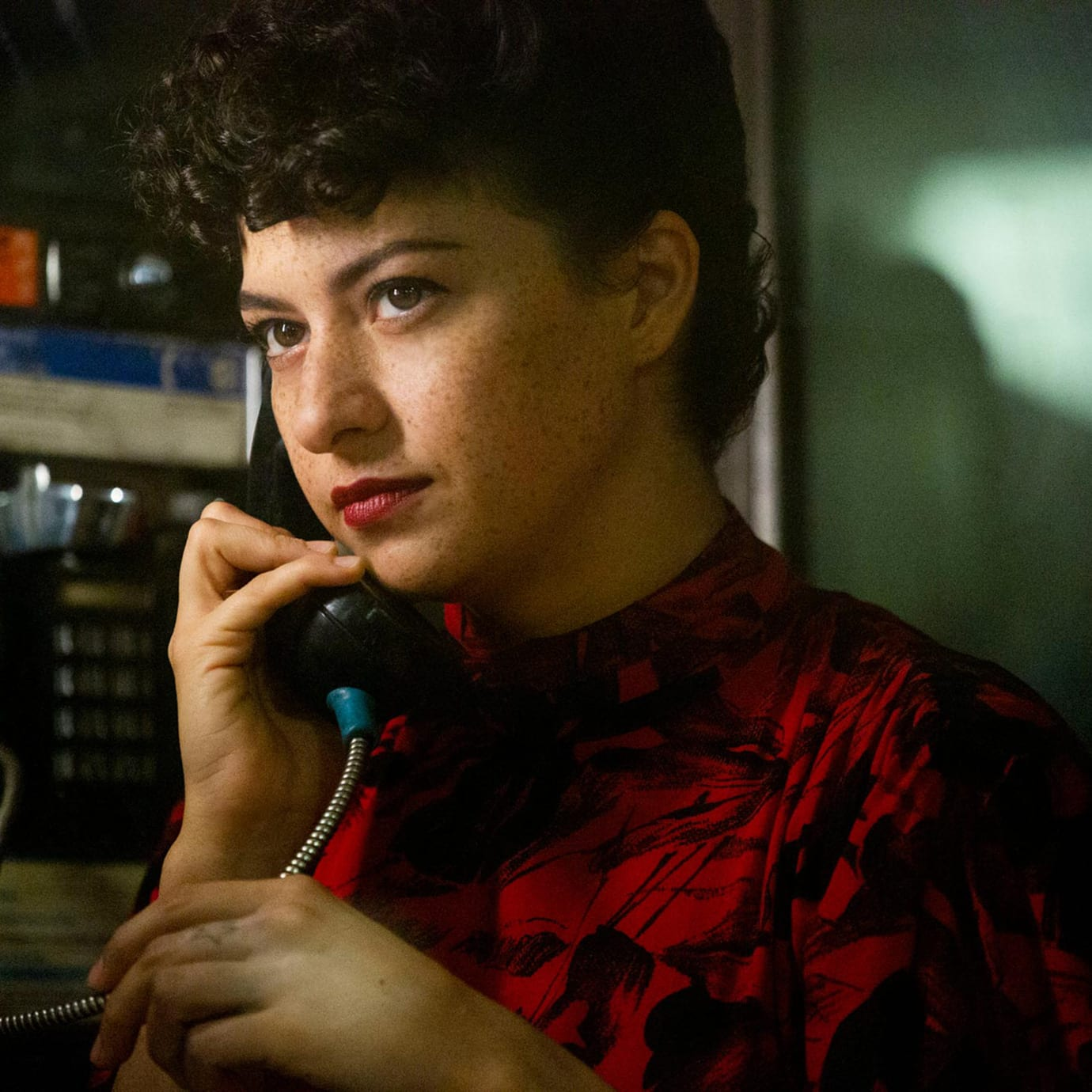 A woman on the telephone.
