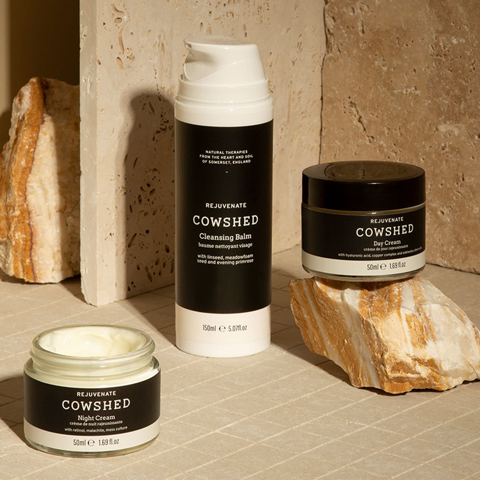 three cowshed skincare products