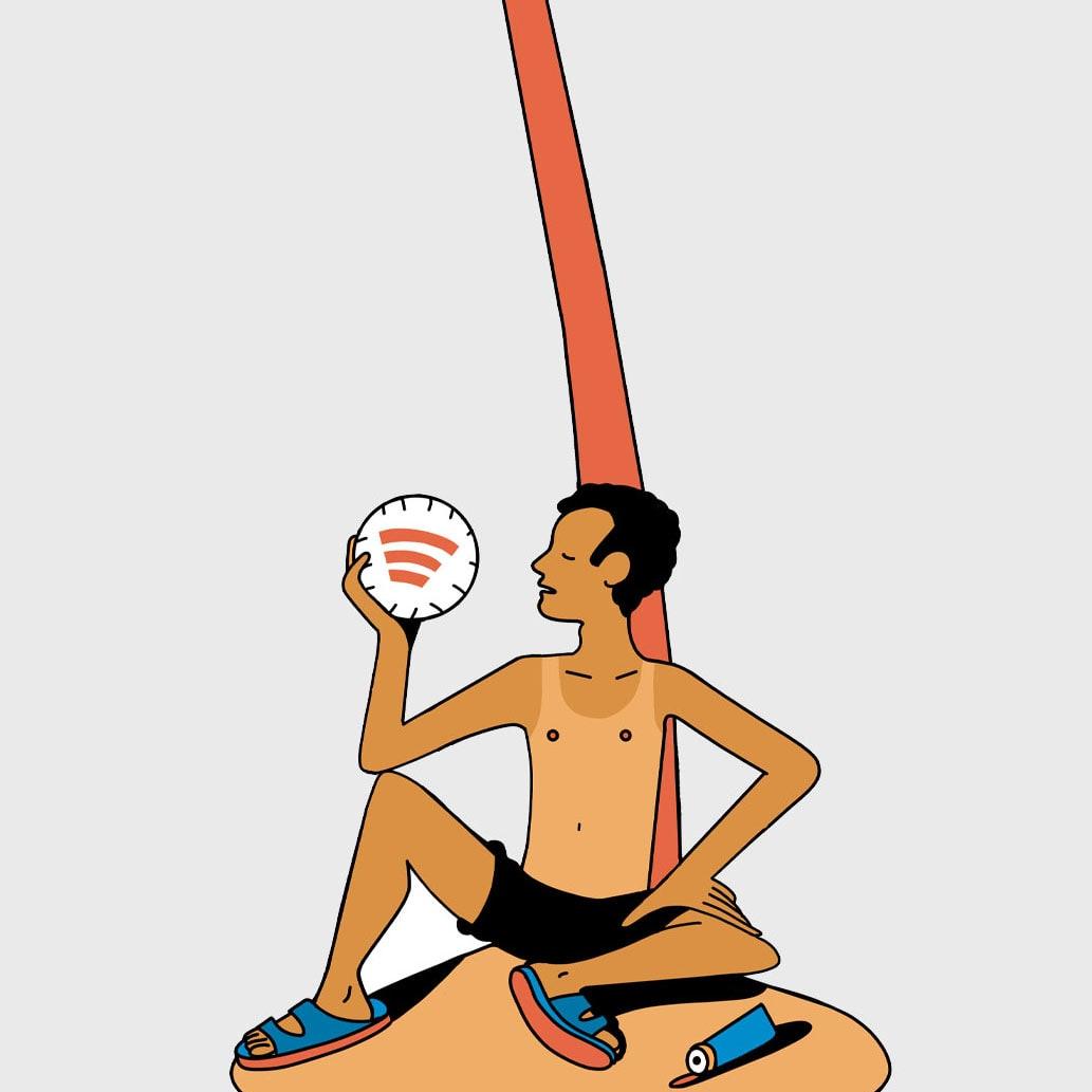 illustration of man on island