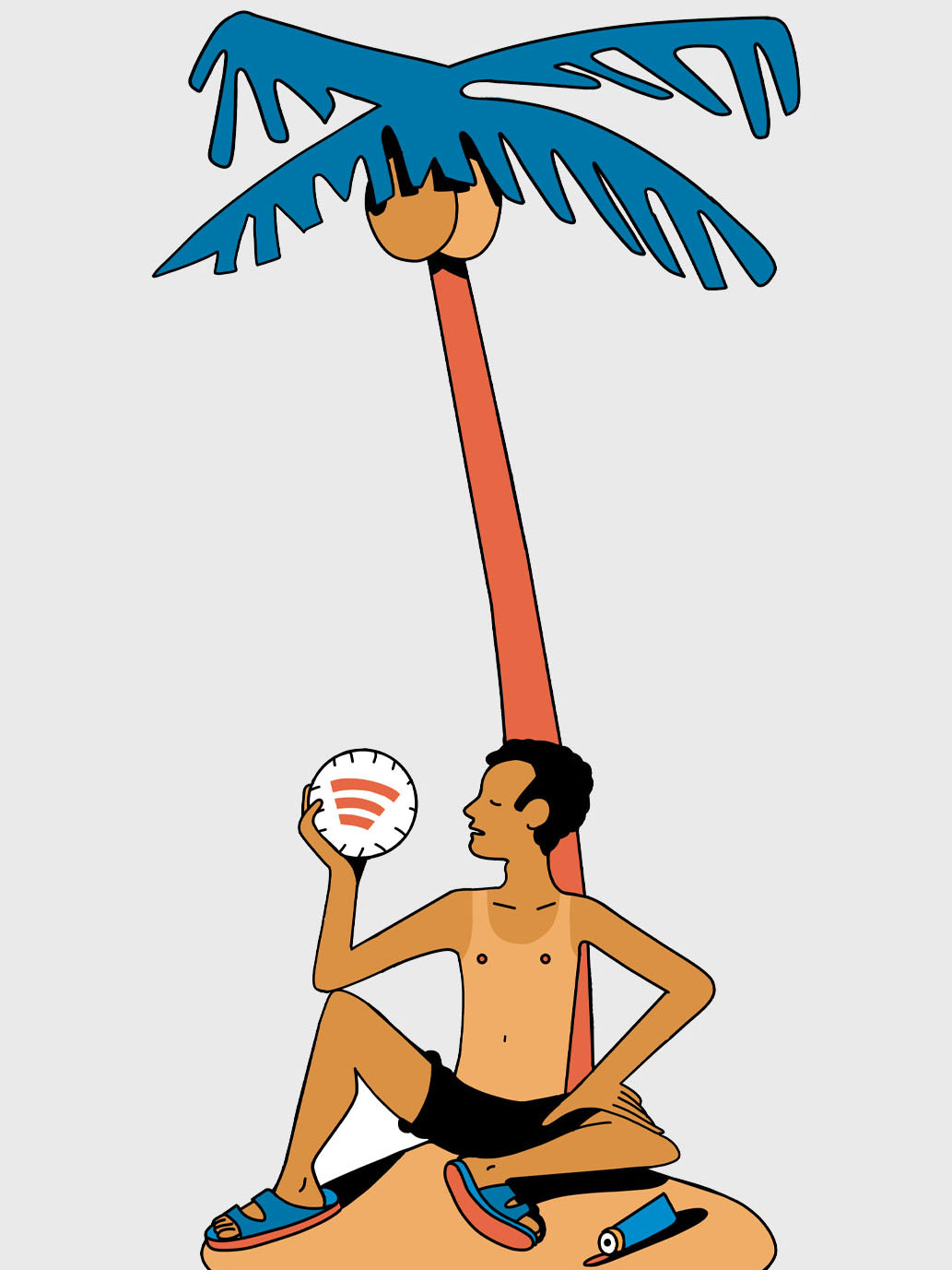 illustration of man on island